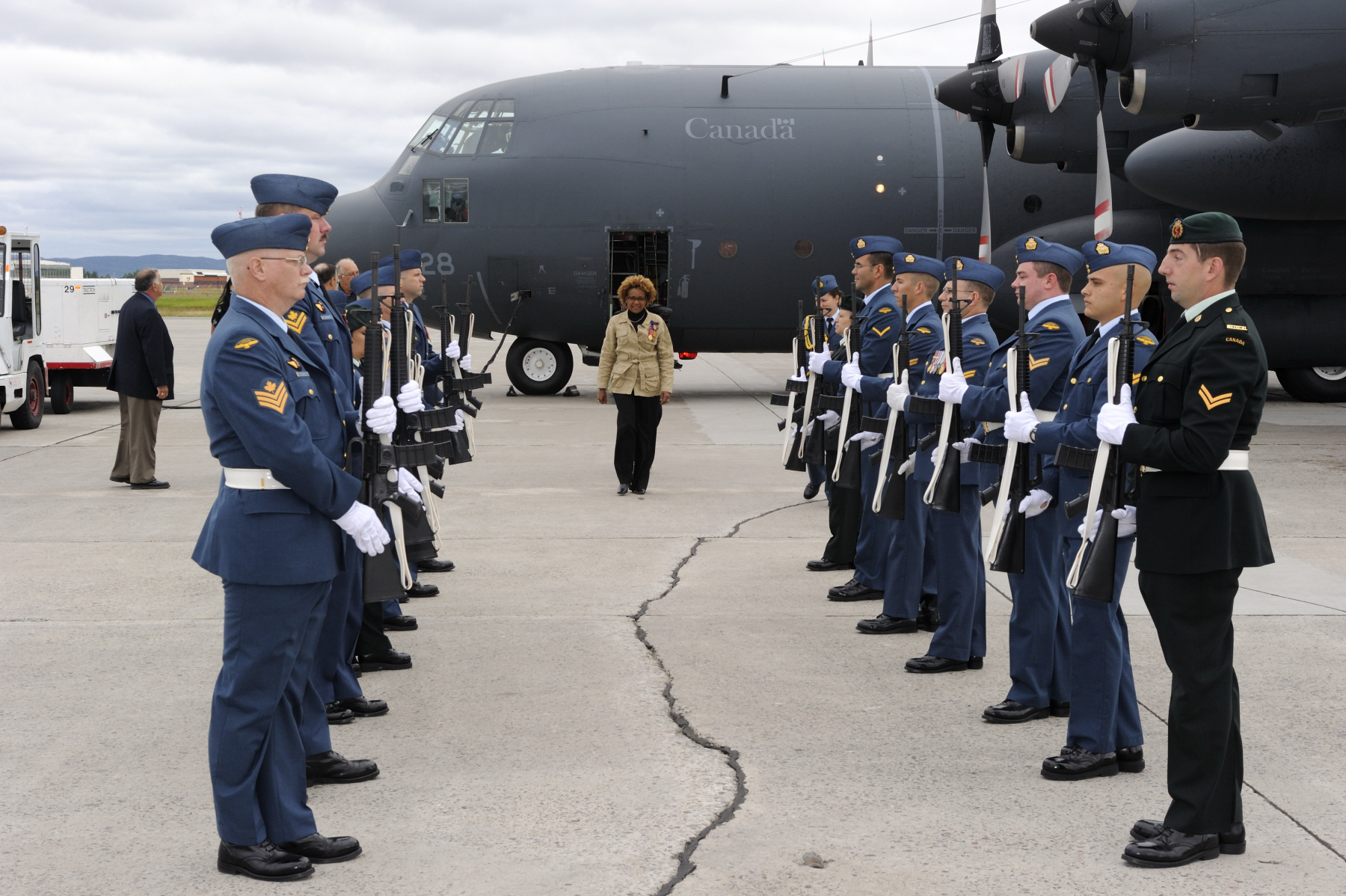 A Guard of Honour welcomed the Governor General and Commander-in-Chief of Canada upon her arrival to Happy Valley - Goose Bay Airport.