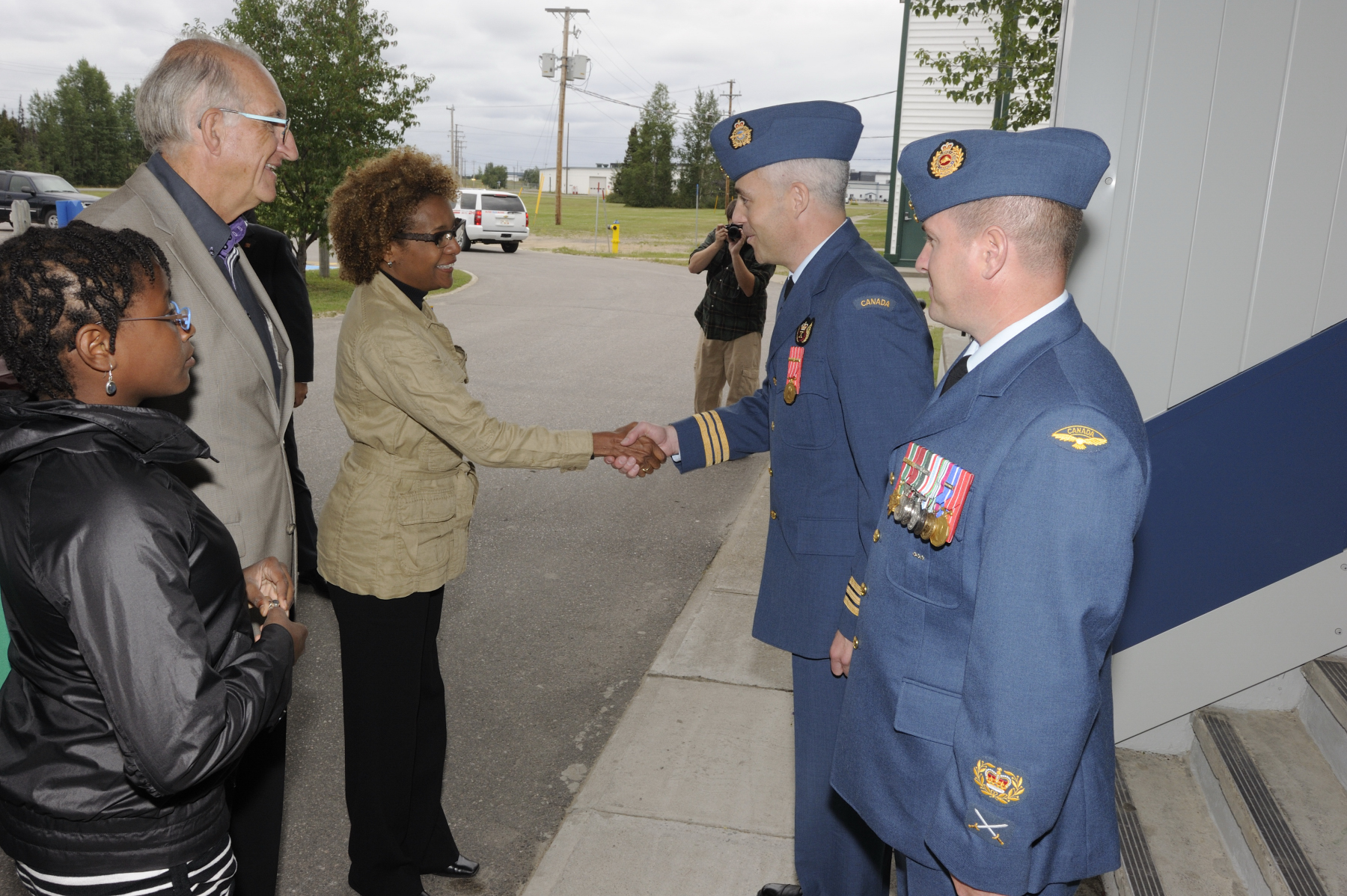 Their Excellencies were greeted by 5 Wing Commander LCol Fleming to 5 Wing Goose Bay.
