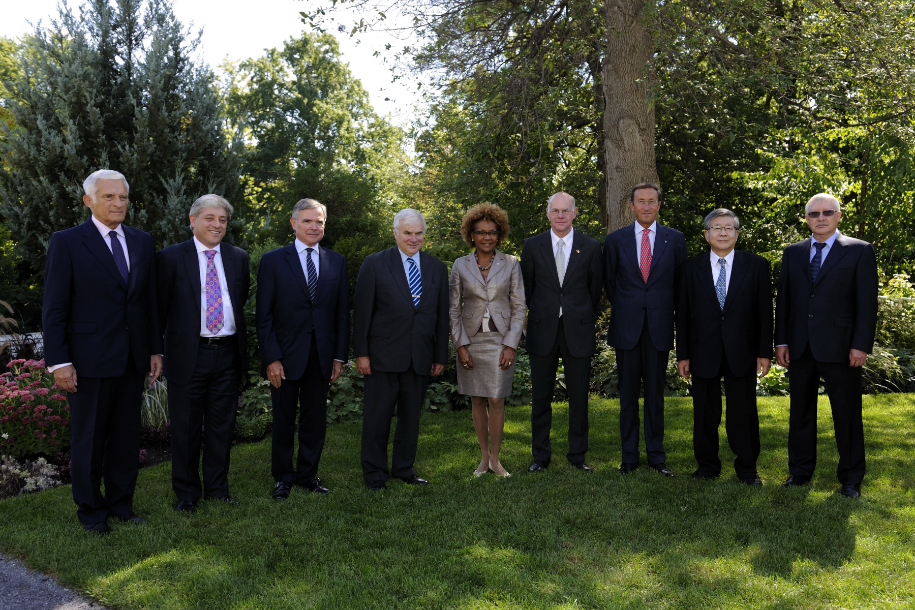 On September 11, 2010, Her Excellency the Right Honourable Michaëlle Jean met with the Speakers of the Lower Houses of the G8 for a luncheon at Rideau Hall. Pictured from left to right: The Honourable Jerzy Buzek, President of the European Parliament; The Right Honourable John Bercow, Speaker of the House of Commons of the United Kingdom of Great Britain and Northern Ireland; His Excellency Bernard Accoyer, Speaker of the National Assembly of the French Republic; The Honourable Peter Milliken, M.P., Speaker of the House of Commons of Canada; Her Excellency the Right Honourable Michaëlle Jean, Governor General of Canada; His Excellency Norbert Lammert, President of the German Bundestag of the Federal Republic of Germany; His Excellency Gianfranco Fini, President of the Chamber of Deputies of the Italian Republic; The Honourable Yokomichi Takahiro, Speaker of the House of Representatives of Japan; and His Excellency Oleg Morozov, First Deputy Speaker of the State Duma of the Federal Assembly of the Russian Federation.