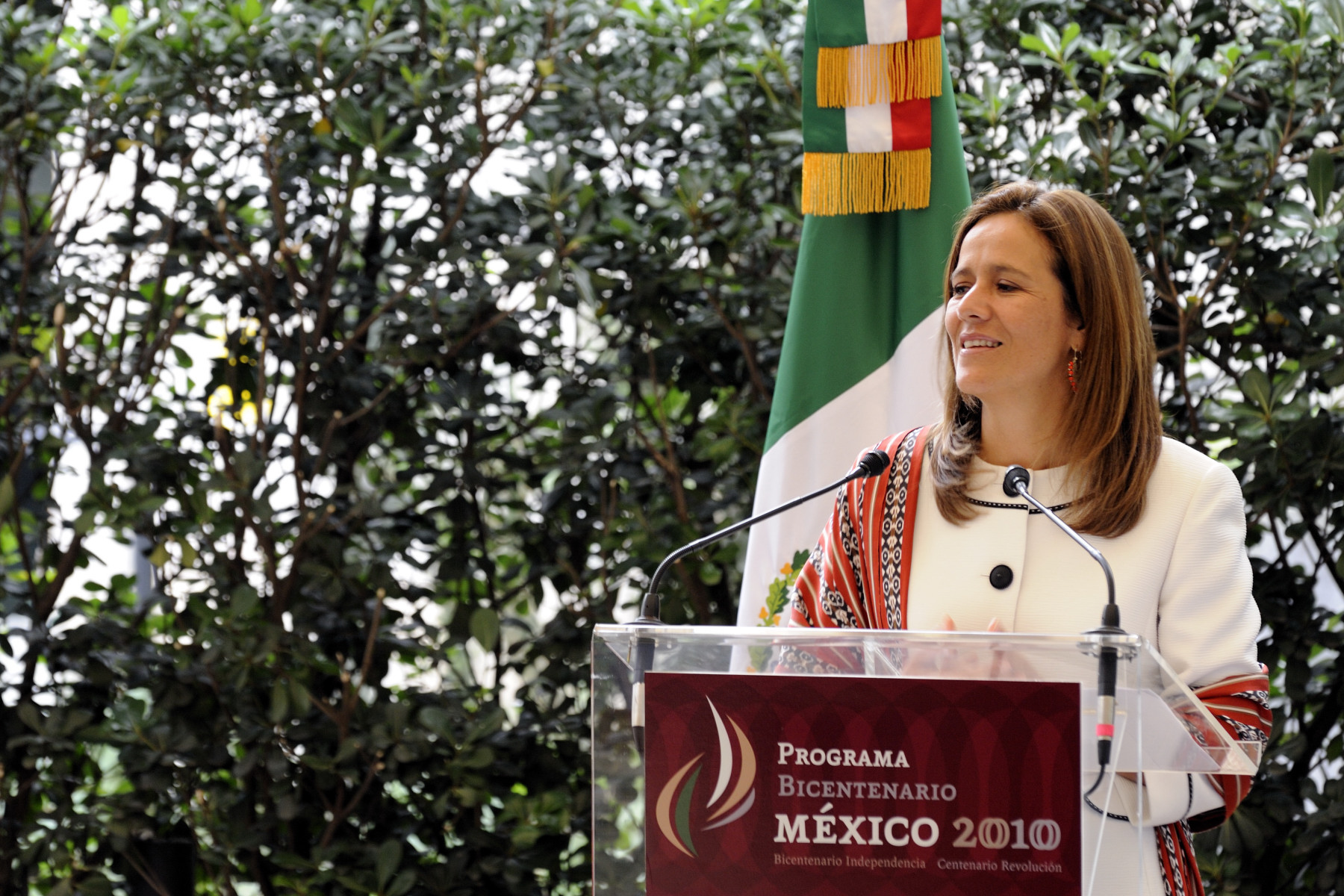 The First Lady of the United Mexican States Margarita Zavala delivered a speech in the gardens of the National Museum of Anthropology and History.