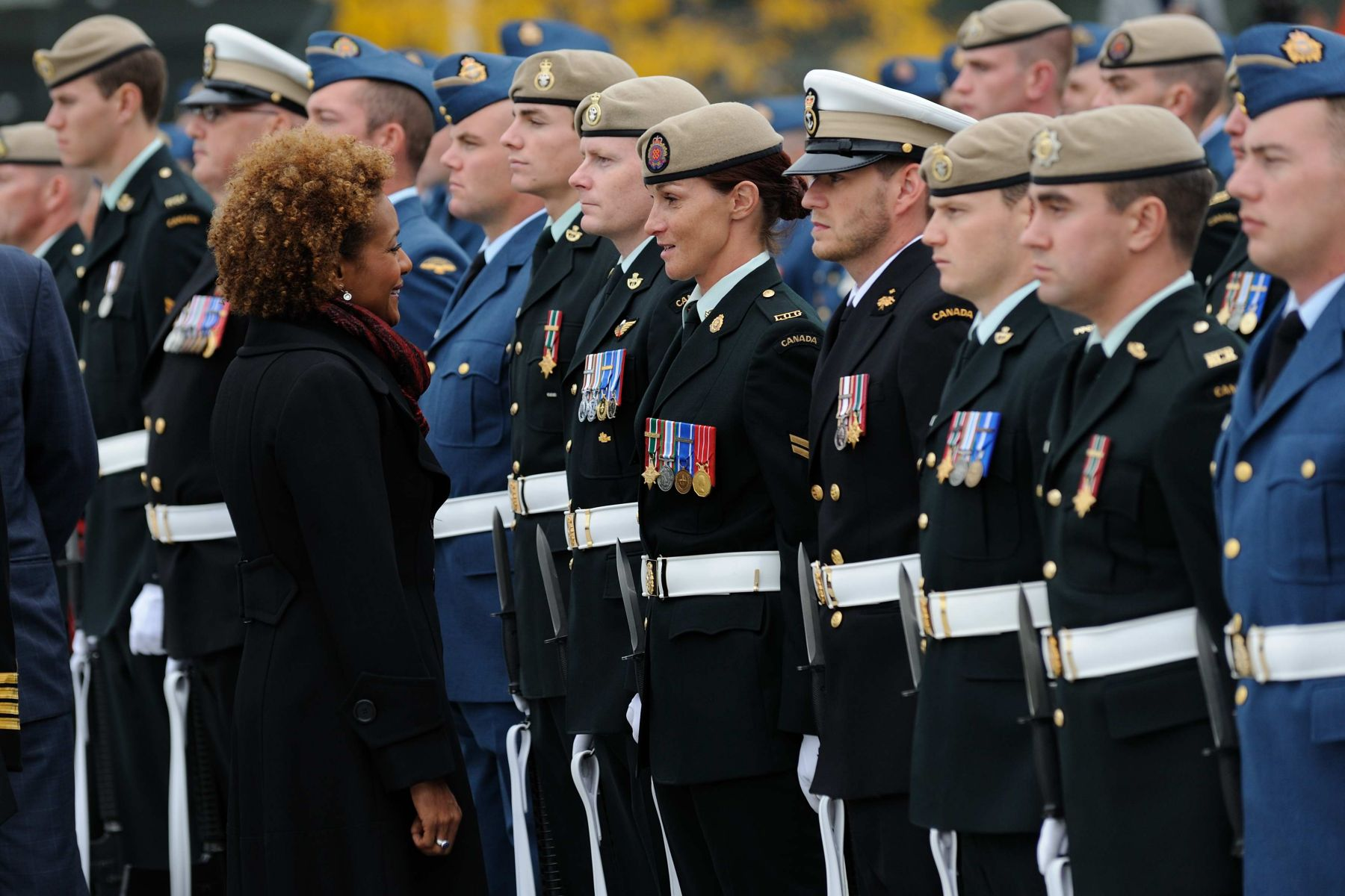 To mark the end of the mandate of Canada's 27th governor general, the Canadian Forces payed tribute to Her Excellency the Right Honourable Michaëlle Jean, Governor General and Commander in Chief of Canada, during a military ceremony on September 29, 2010. During the inspection of the guard of honour, Her Excellency stopped to speak to Master Corporal Haché.