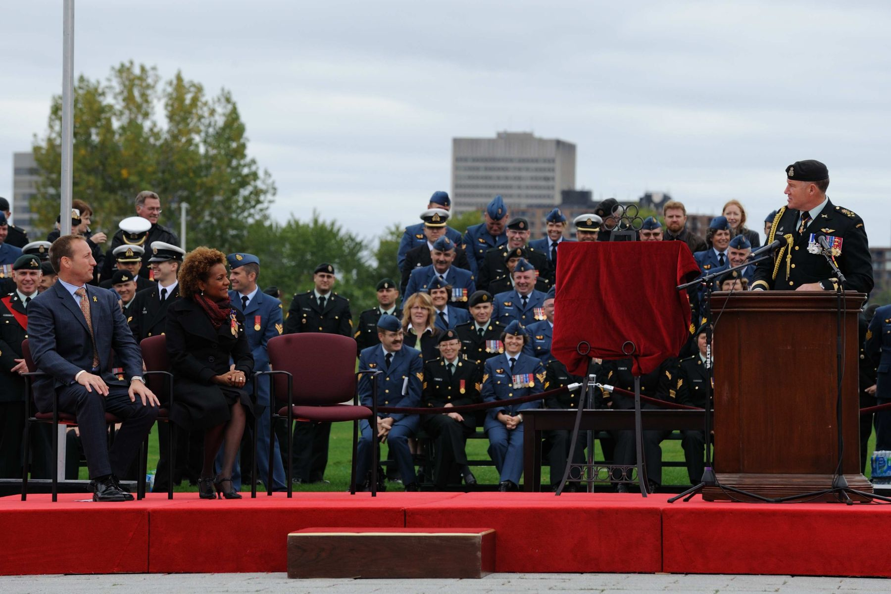 """As our Commander-in-Chief, Her Excellency has visited thousands of Canadian Forces members across Canada and around the world,"" said the Chief of the Defence Staff, General Walter Natynczyk.  ""This farewell ceremony is a reflection of the unique and positive relationship that Her Excellency has maintained with the Canadian Forces since her appointment five years ago."""