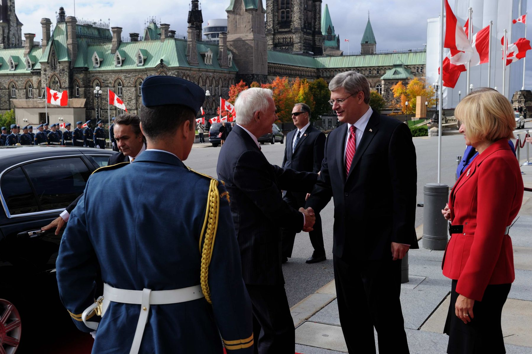 The Governor General Designate is greeted by Prime Minister Stephen Harper at Parliament Hill.