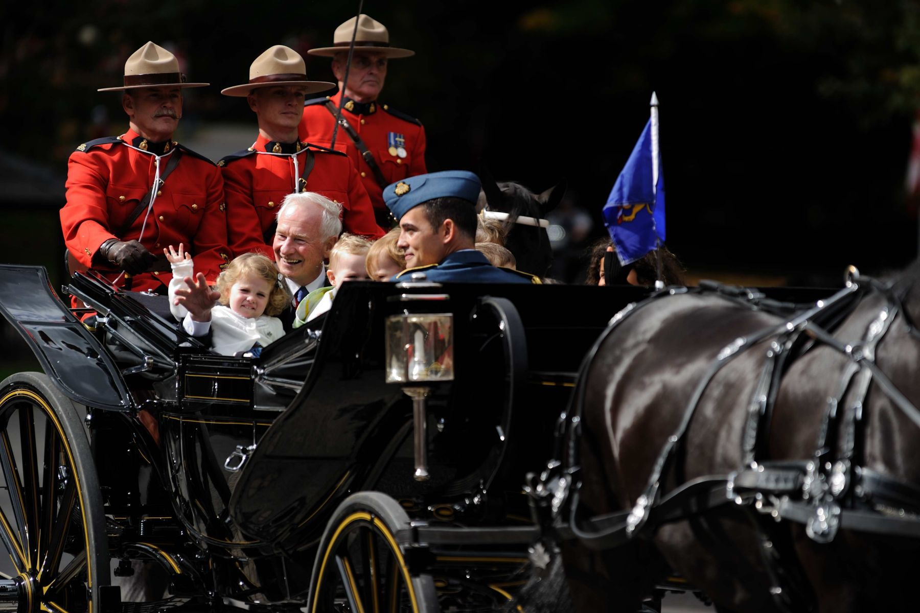 Their Excellencies then made their way to Rideau Hall. They arrived with their grandchildren.
