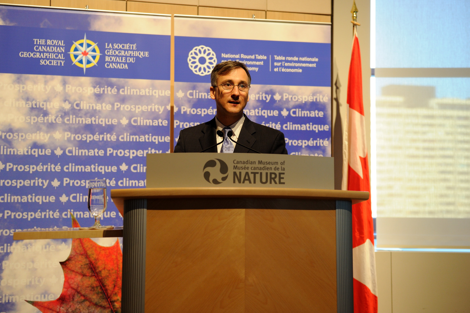Mr. Bernard Lord was the MC of the event celebrating a new collaborative project on the impacts of climate change on Canada by the National Round Table on the Environment and the Economy and the Royal Canadian Geographical Society.