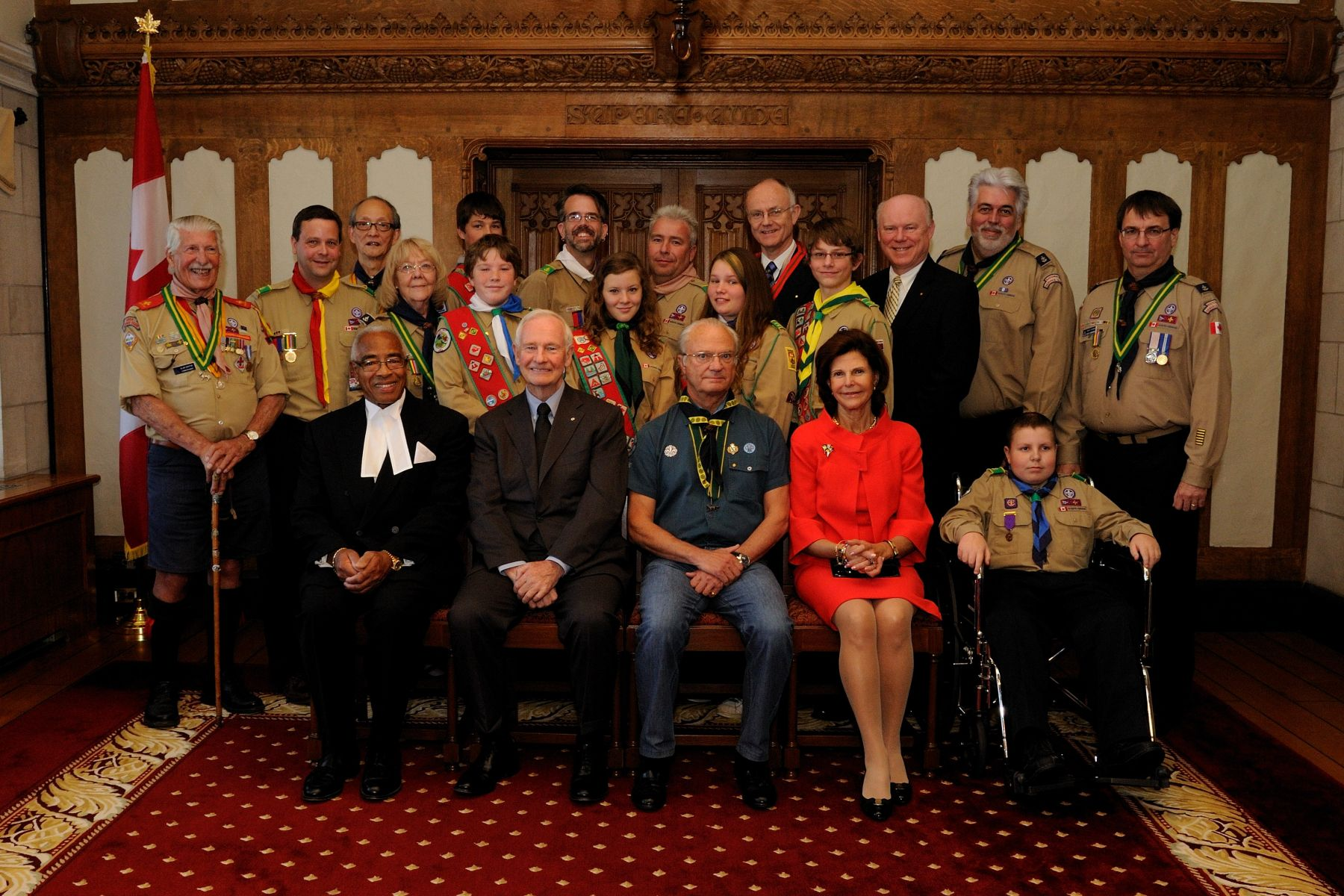 Governor General David Johnston was photographed with the sixteen recipients that were honoured along with His Majesty King Carl Gustaf of Sweden, Honourary President of the World Scout Foundation (right of Governor General), and Her Majesty Queen Silvia (right of King Carl Gustaf) who also attended the event.