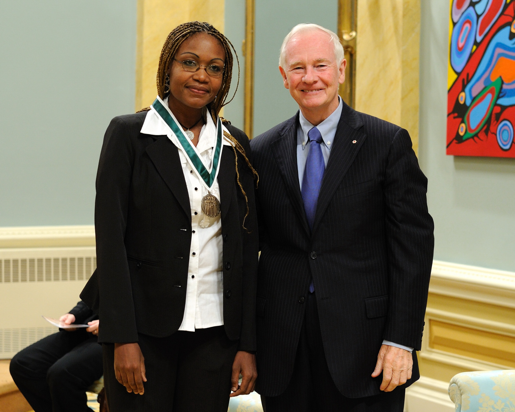 Ms. Kerline Joseph from Delson, Quebec, received the 2010 Governor General's Awards in Commemoration of the Persons Case. Ms. Joseph created the organization Voix sans frontières (Voices without borders) of which she is president. The organization addresses the isolation of immigrant women in Canada, helps them with skills development, and provides them with information about their rights and responsibilities in this country.