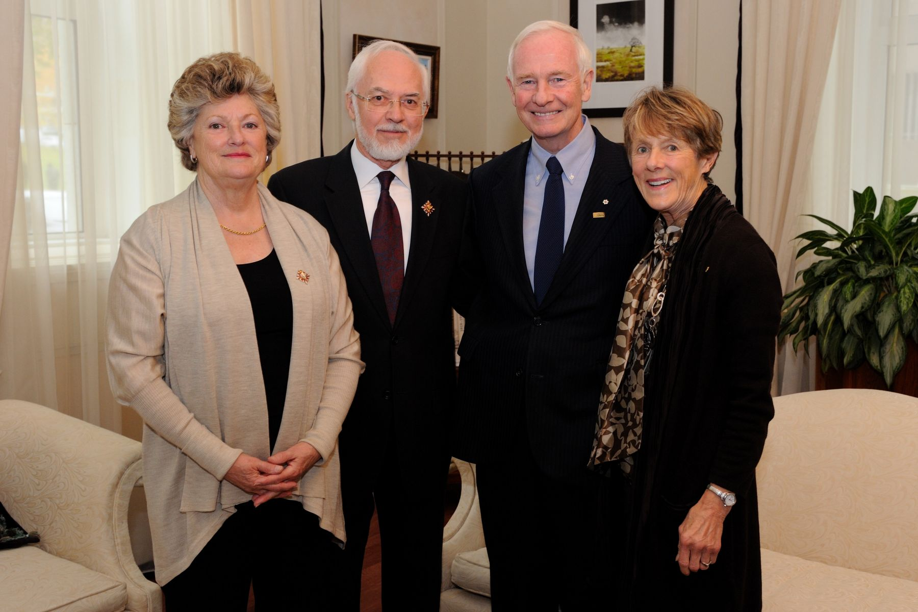 Their Excellencies met with Their Honours, the Honourable Pierre Duchesne, Lieutenant Governor of Quebec, and his wife Mrs. Ginette Lamoureux.