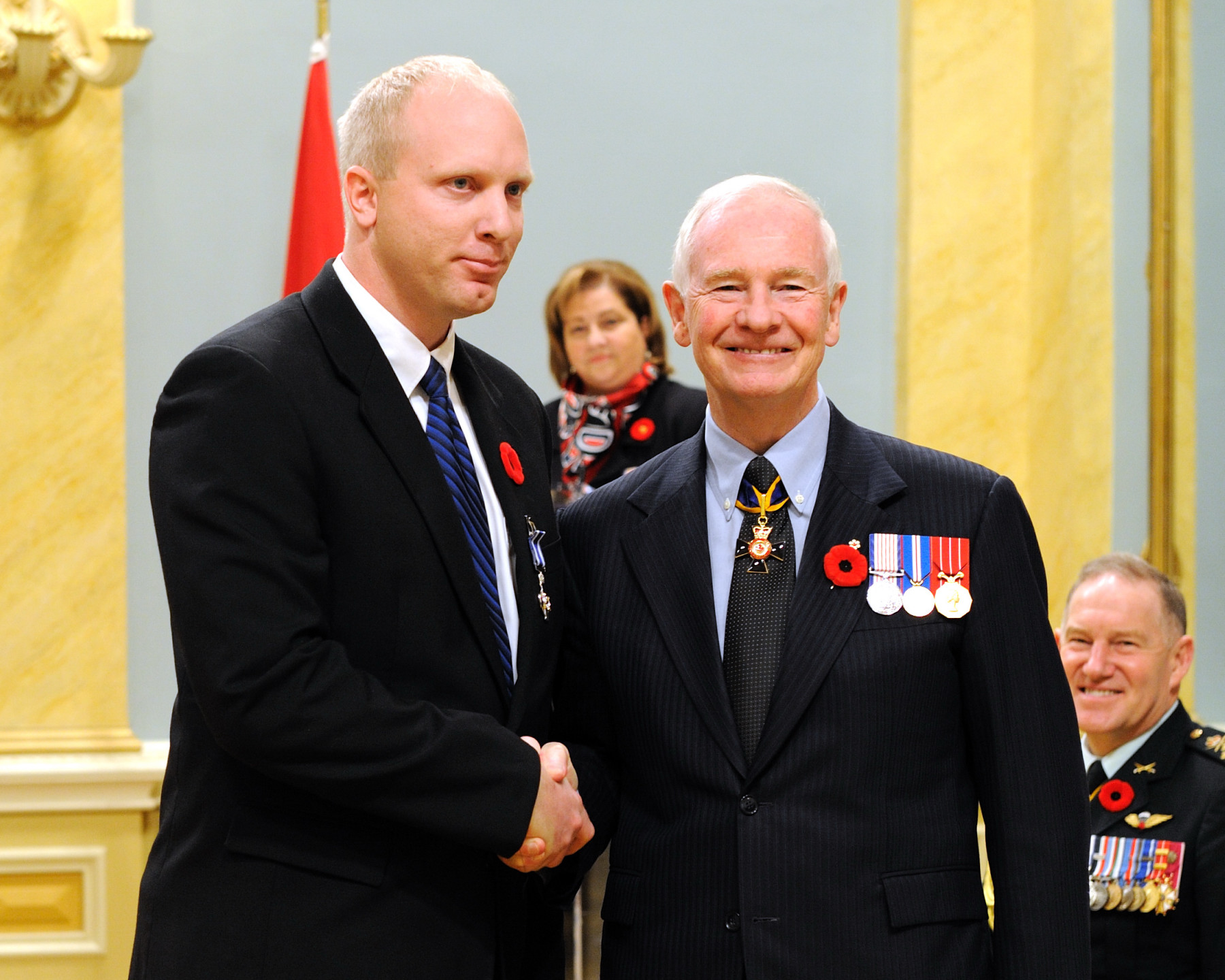 Sergeant Joseph Martin Brink, M.S.C., received the Meritorious Service Cross (Military Division) from the Governor General. On January 15, 2006, Sergeant Brink demonstrated exemplary leadership as the section commander during an attack on his patrol convoy by a suicide vehicle borne improvised explosive device. He quickly established a security perimeter and sent a detailed report to command headquarters, which allowed for the rapid dispatch of the quick reaction force to provide assistance at the scene. He then entered a burning, overturned and ammunition-laden vehicle to render aid to a trapped and seriously injured soldier until that soldier could be safely extracted. Sergeant Brink's perseverance and performance under extreme duress were exceptional.