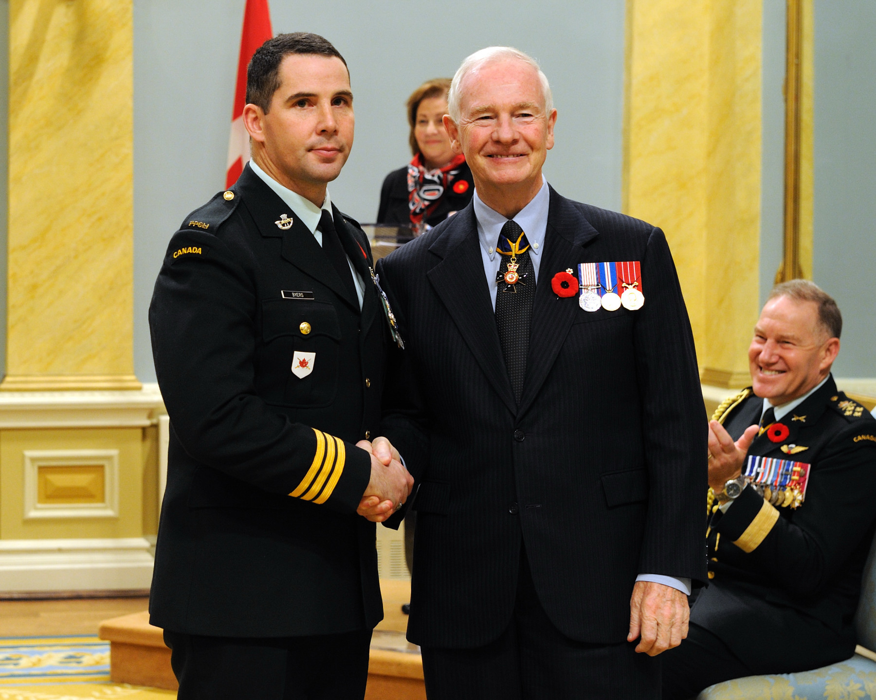 Major Timothy Charles Byers, M.S.M., C.D., received the Meritorious Service Medal (Military Division) from the Governor General. From May 2008 through March 2009, Major Byers exhibited professionalism, foresight and leadership in his capacity as commander 4th Canadian Ranger Patrol Group during the planning and execution of Exercise WESTERN SPIRIT. The exercise included an arduous 37-day snowmobile trek, during which he led the patrol through severe arctic conditions, highlighting the capabilities of Canadian Rangers in over 25 northern communities. The success of this Exercise and its connection with Canadians in the North brought great credit to the Canadian Forces.