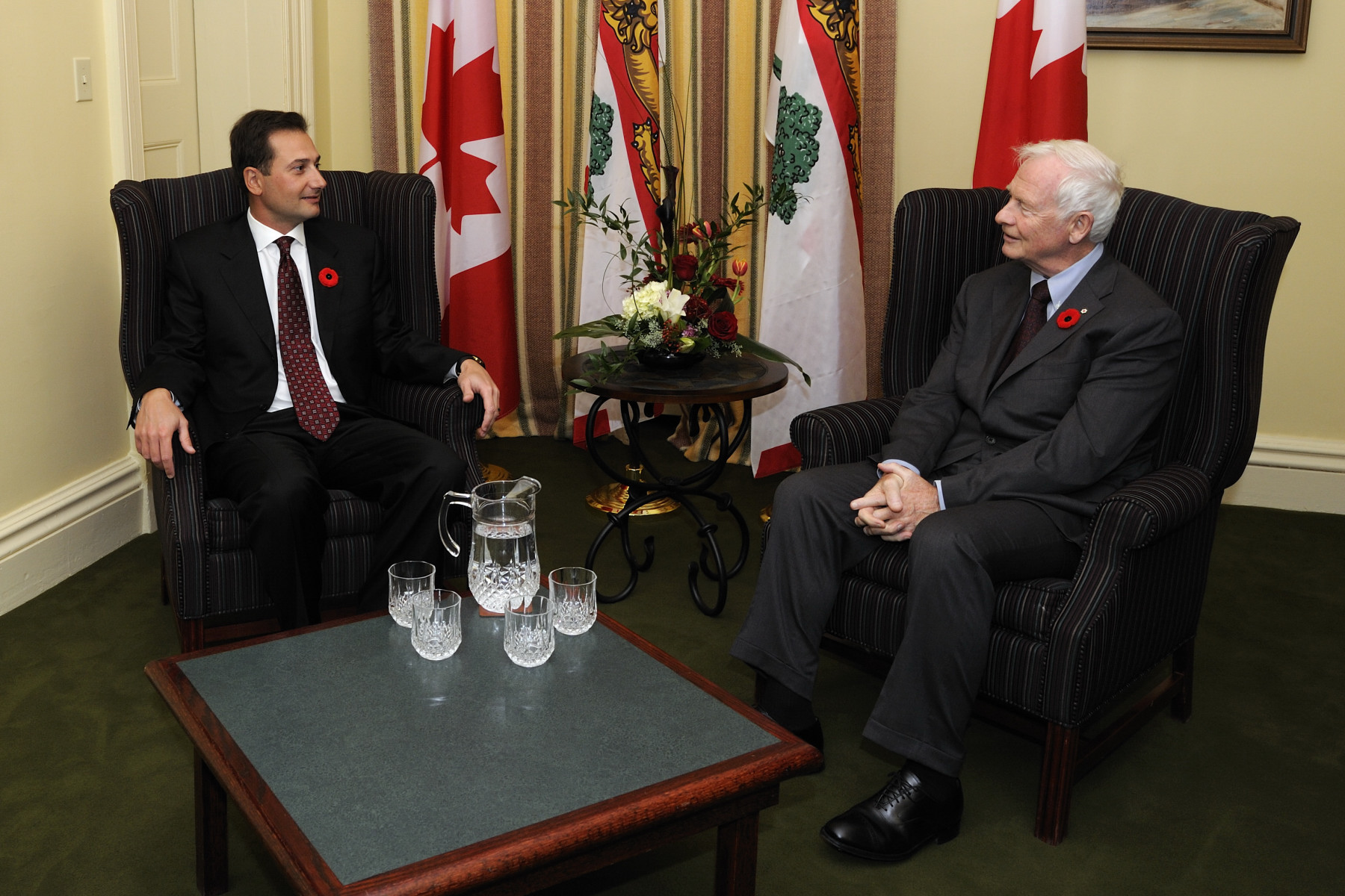 Inside Province House, His Excellency has a meeting with the Honourable Robert W.J. Ghiz, Premier of Prince Edward Island.