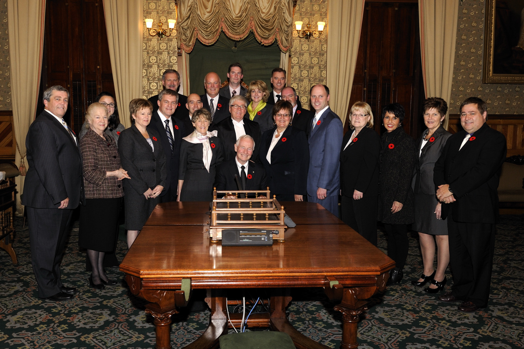 The Honourable David Alward, Premier of New Brunswick, introduced his 15 Cabinet members to Their Excellencies. The introduction was followed by Their Excellencies signing the guest book.