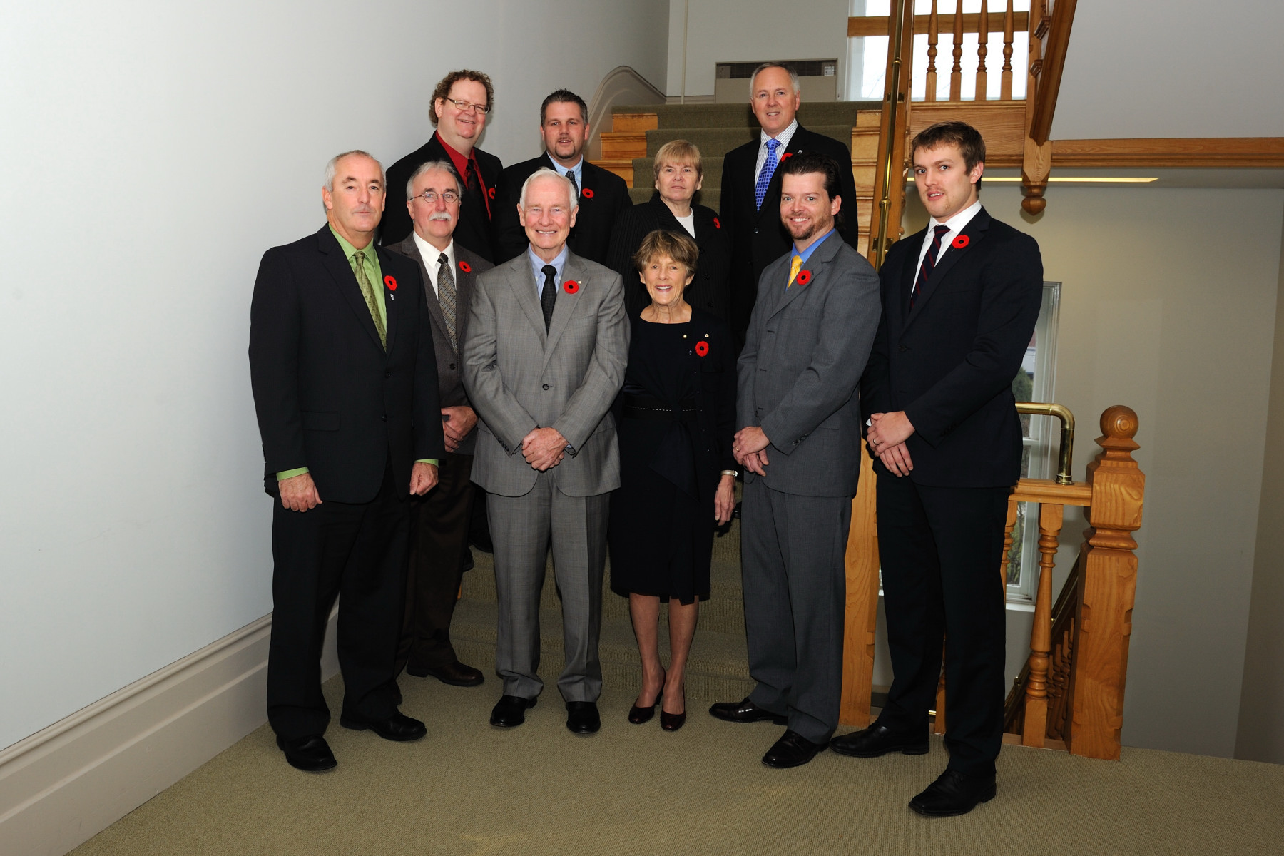 Official photo of Their Excellencies and staff from Fredericton City Hall.