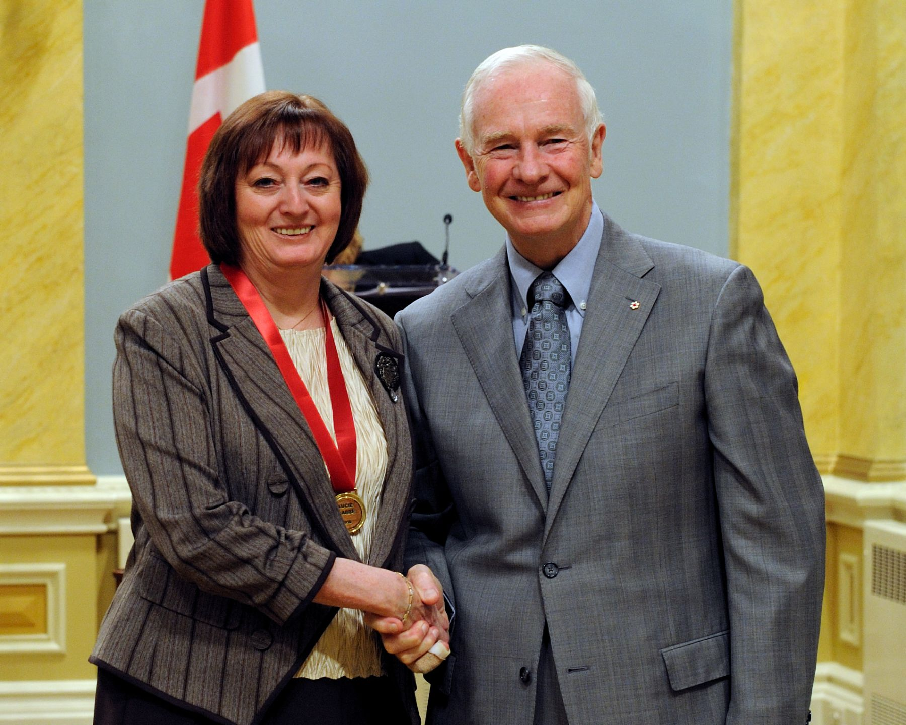 Mrs. Lucie Labbé received the Governor General's Award for Excellence in Teaching Canadian History from His Excellency.