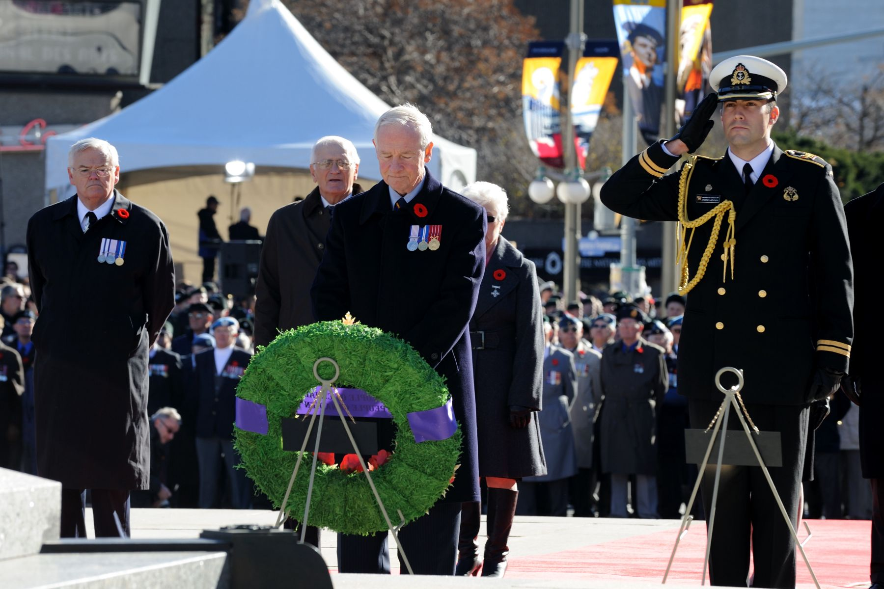 As per tradition, the Governor General laid a wreath at the Tomb of the Unknow Soldier, on behalf of the people of Canada.