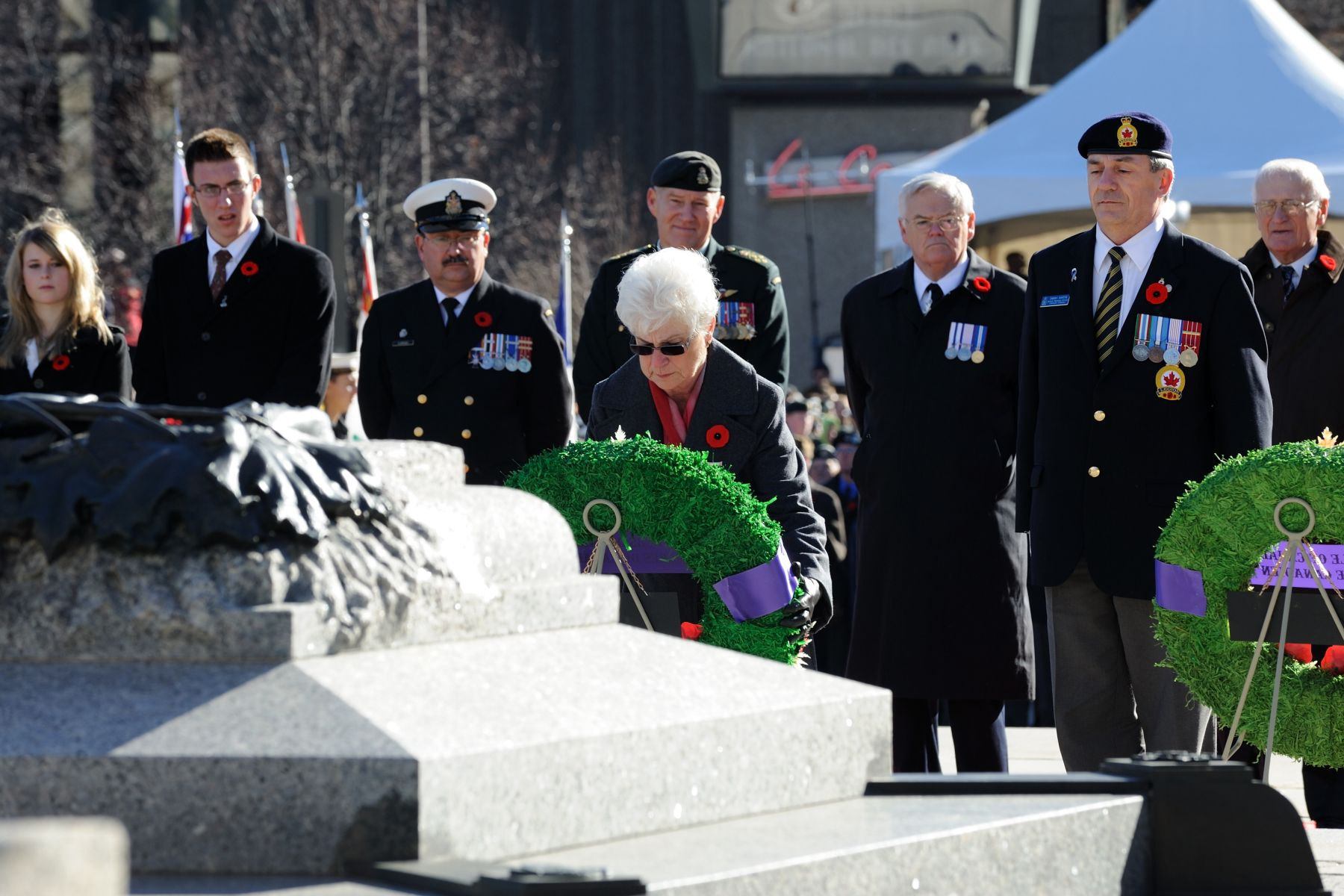 The Silver Cross Mother laid a wreath on behalf of the mothers of Canada.