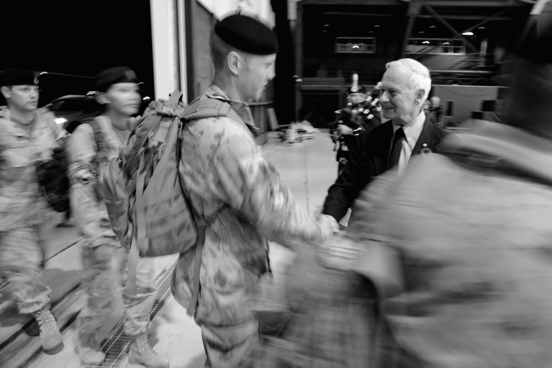 The first group of 120 military troops returning from Afghasitan arrived at the Canada Reception Centre at the beginning of the evening.
