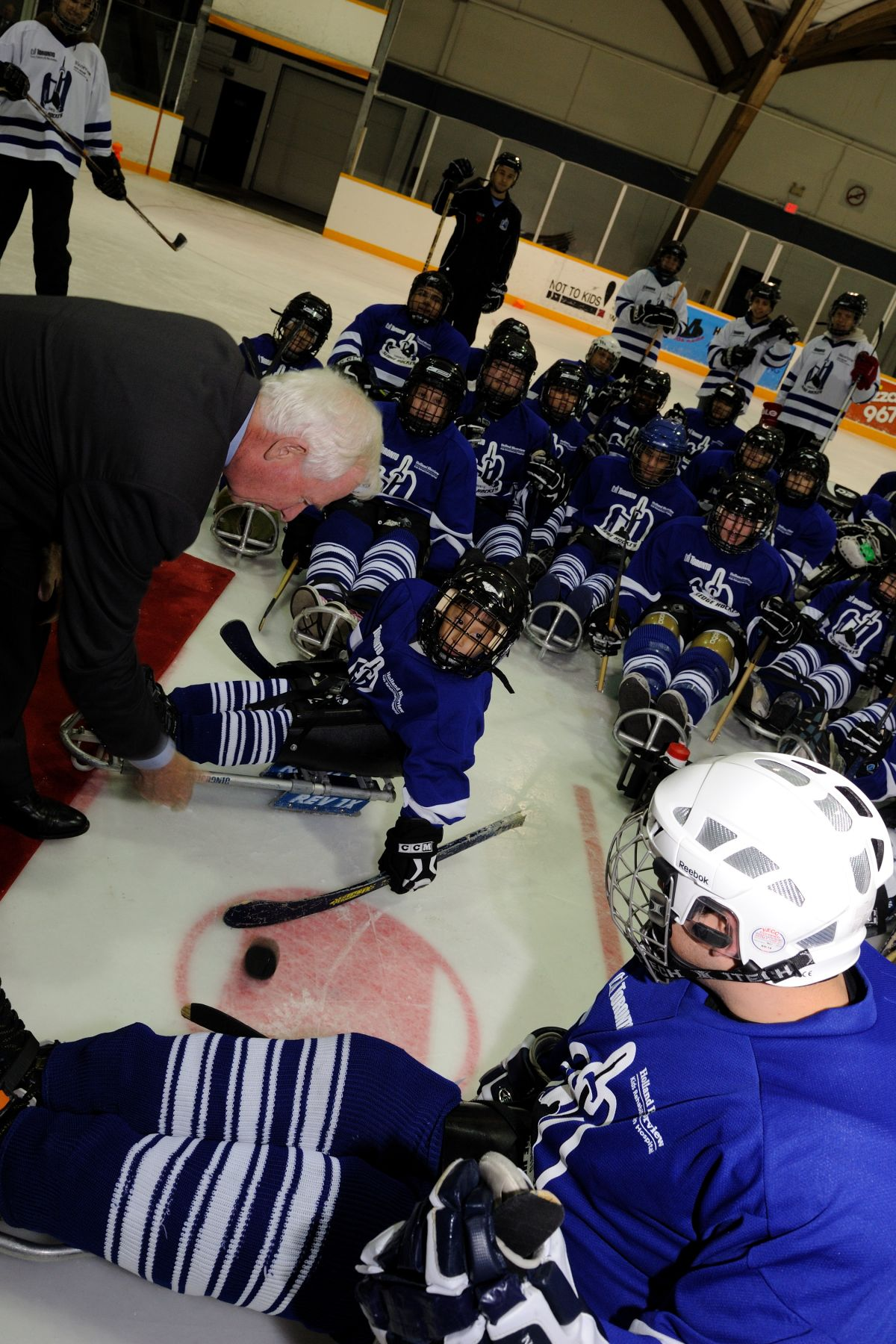 His Excellency conducted the official puck-drop to kick off a friendly game of sledge hockey.