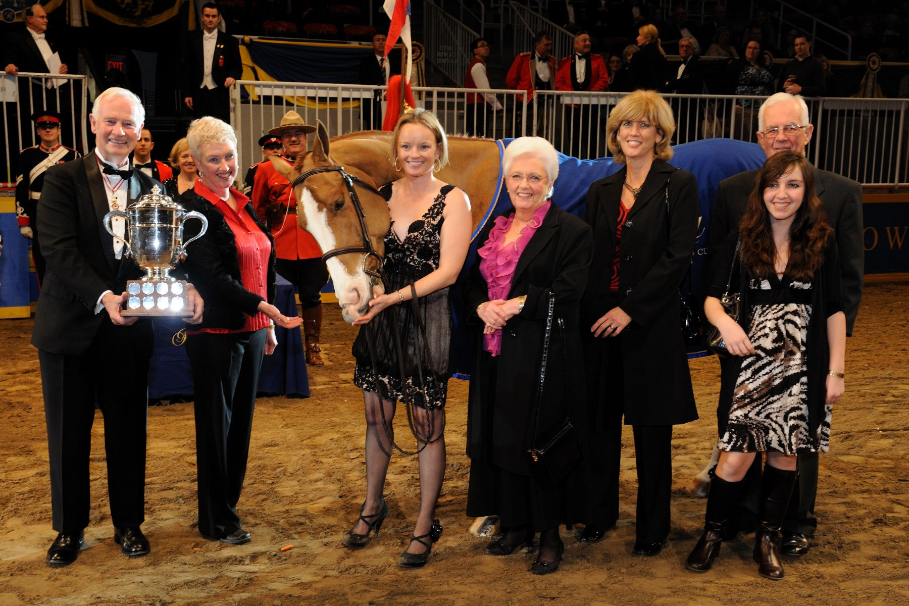 The Governor General recognized excellence in the sport horse breeding classes by awarding the Governor General's cup to this year's winner. This annual tradition began in 1922 when Canada's premier indoor horse show, the Royal Horse Show, first opened. Entries in the Governor General's Cup class are judged as to their suitability at becoming a sport horse assessing their potential for excellence in the Hunter, Jumper, Dressage or Eventing disciplines.