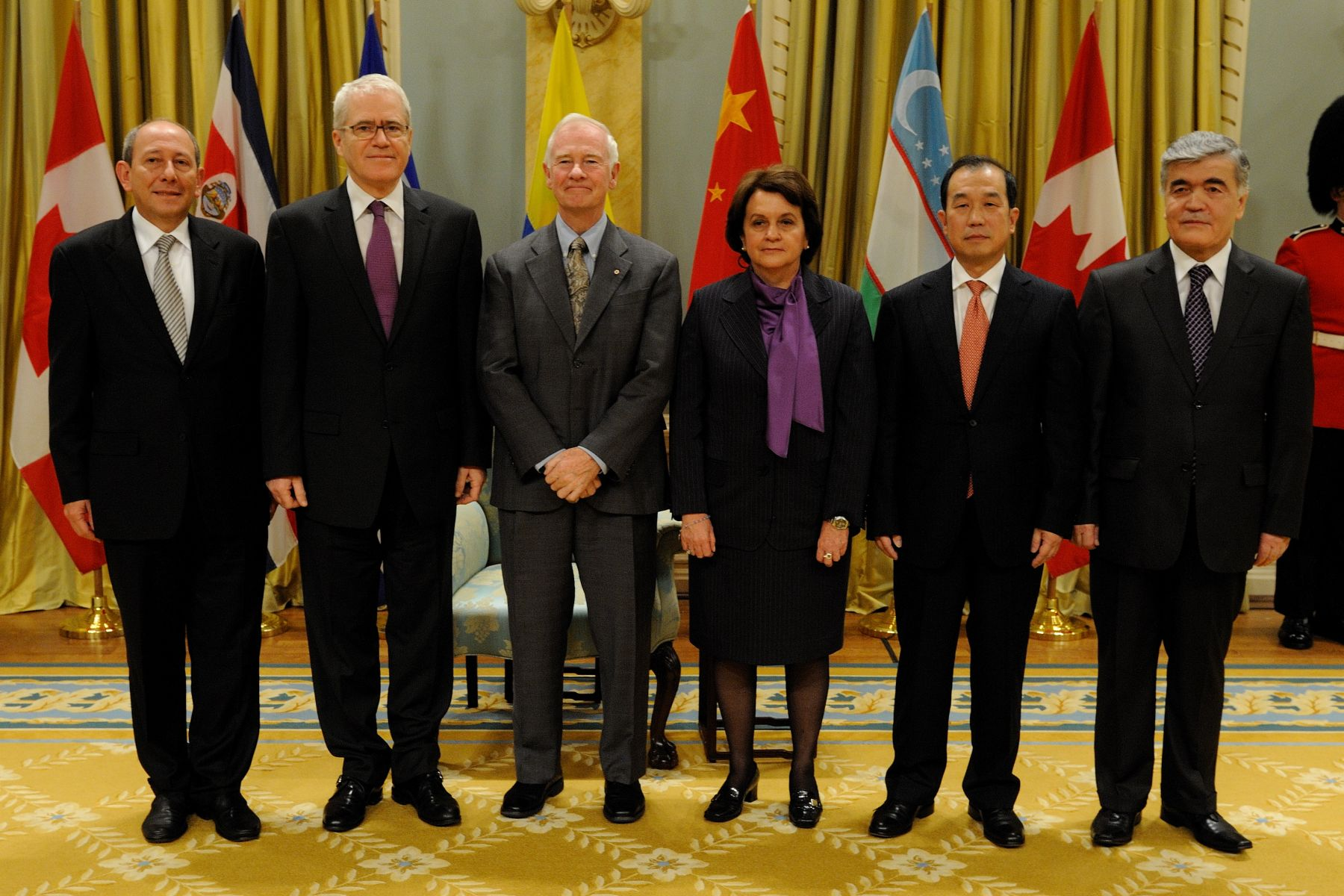 His Excellency the Right Honourable David Johnston, Governor General of Canada, received the credentials of five new ambassadors on Wednesday, November 23, 2010.