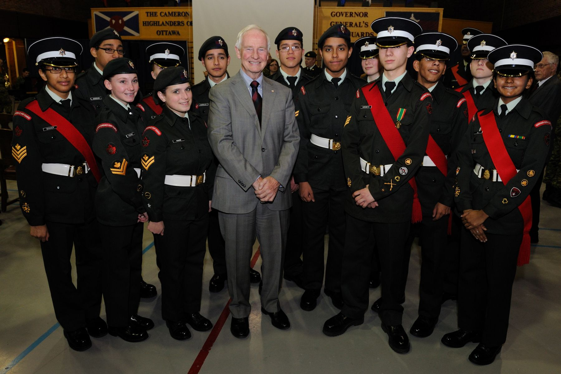The Governor General also addressed soldiers, cadets, members of the Foot Guards Association and families on the parade square. He is seen here with cadets.