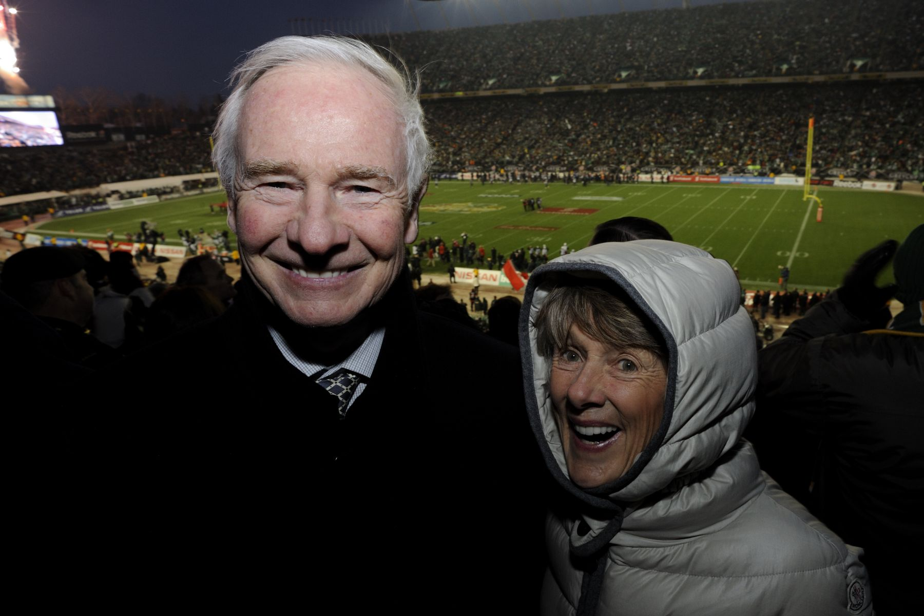 "Their Excellencies the Right Honourable David Johnston, Governor General of Canada, and Mrs. Sharon Johnston began their official visit to Alberta in the city of Edmonton, where they attended the 98th Grey Cup Championship. ""It is with great enthusiasm that my wife and I will attend the CFL Championship Game to cheer on two outstanding football teams,"" said His Excellency David Johnston. ""As a sports fan and as a true believer in the importance of physical activity, I am looking forward to sharing this unique experience with Canadians and I am more than honoured to present the Grey Cup to this year's champions."""