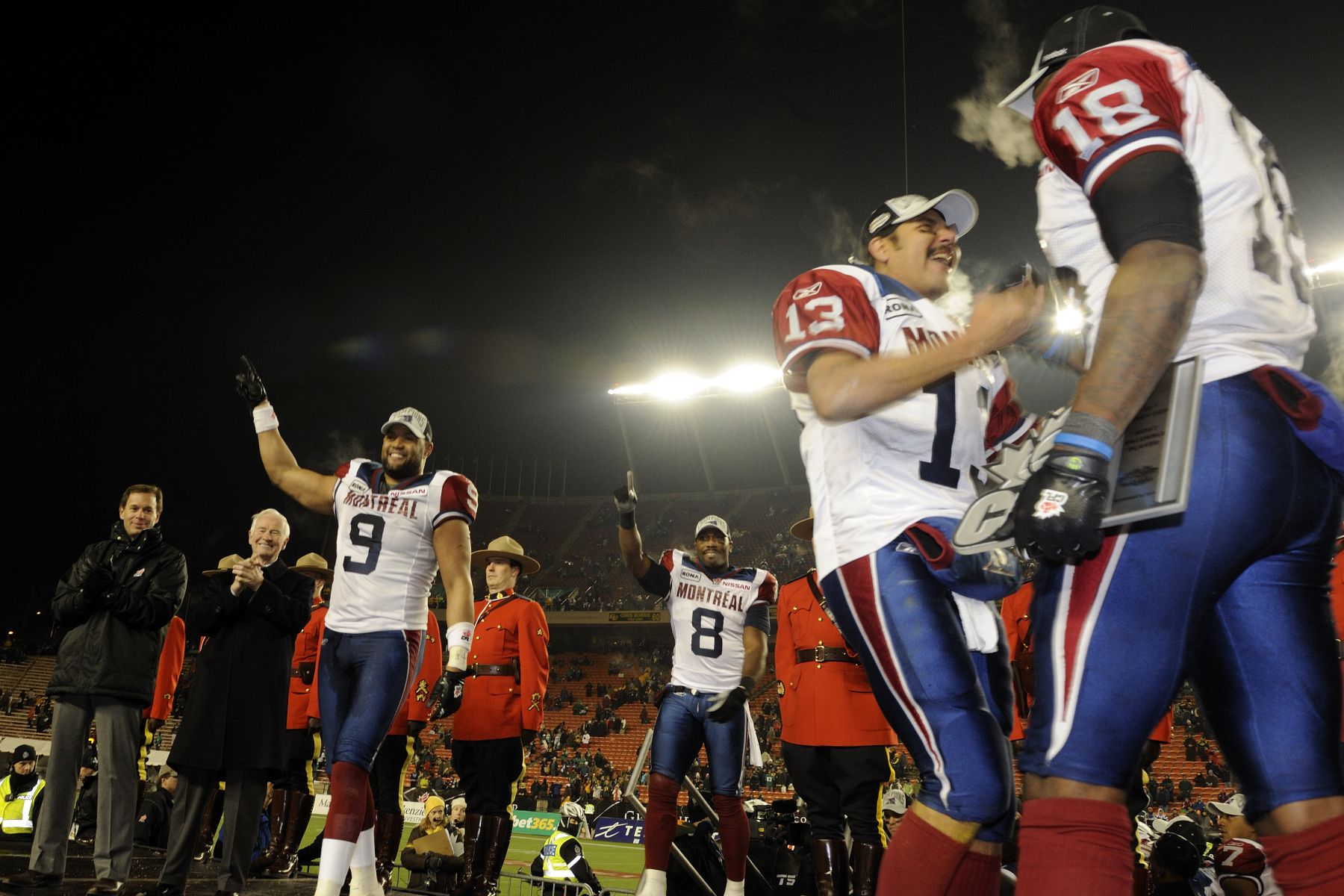 The Montréal Alouettes won the championship game and players walked up on stage for the presentation of the Grey Cup.