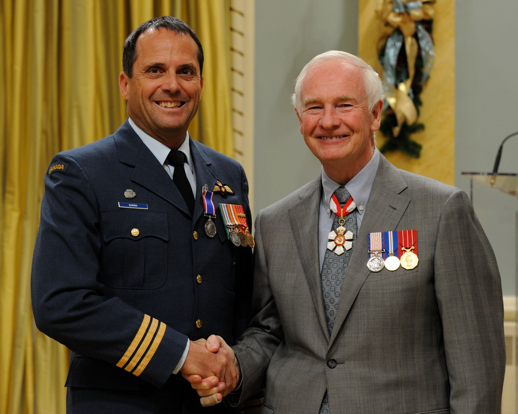 Major Joseph Siméon Raymond Pierre Barma, C.D., received the Operational Service Medal for his work in Haiti.
