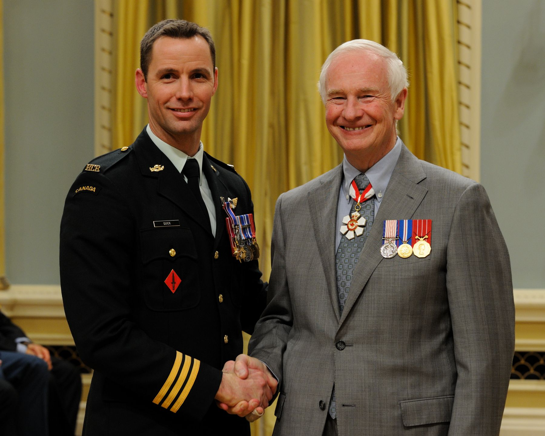 Major David Nelson Quick, C.D., received the Operational Service Medal for his work in Haiti.