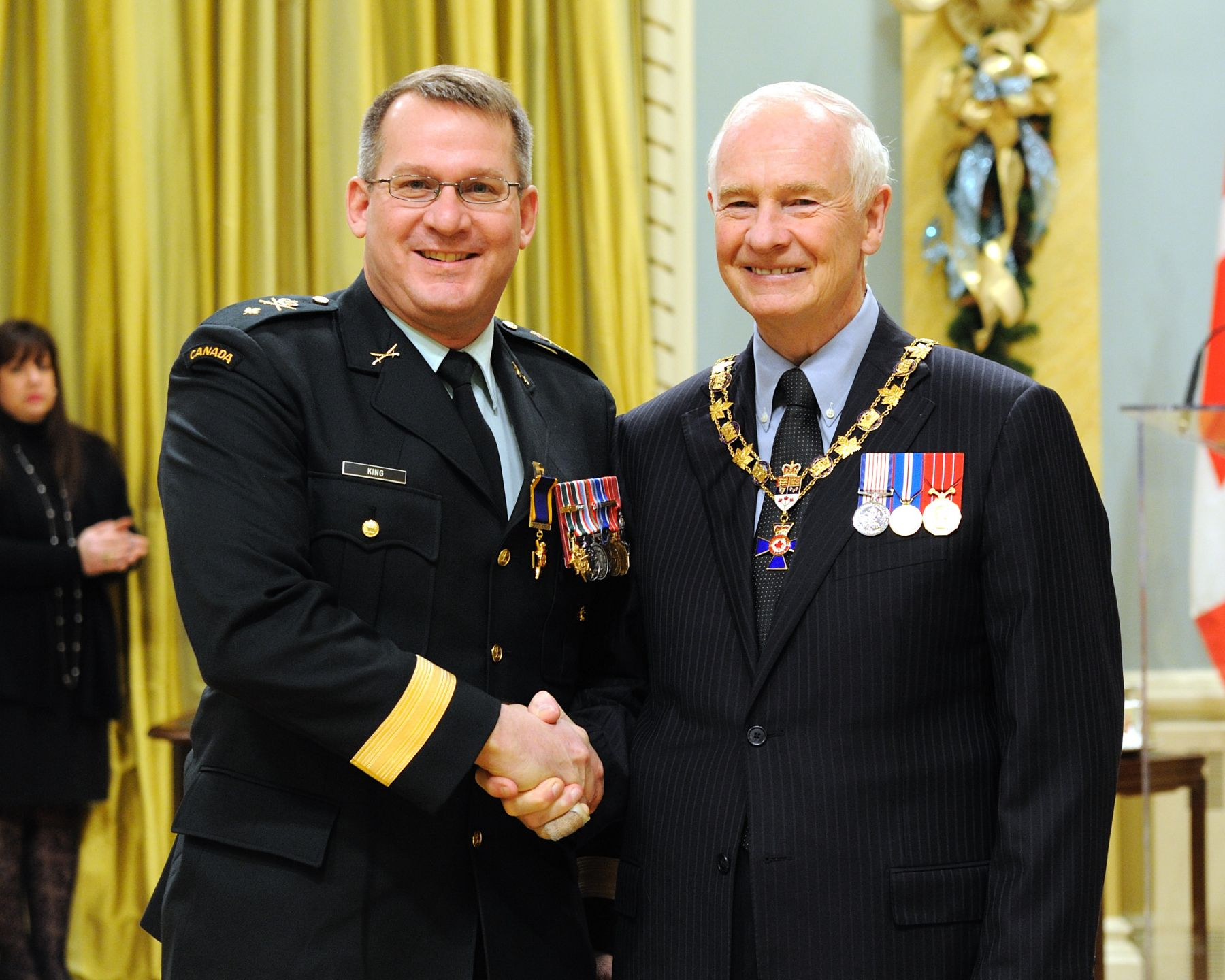 His Excellency presented the Order of Military Merit at the Officer level (O.M.M.) to Colonel Craig King, O.M.M., C.D., M.B.E., Canadian Manoeuvre Training Centre, Denwood, Alberta.