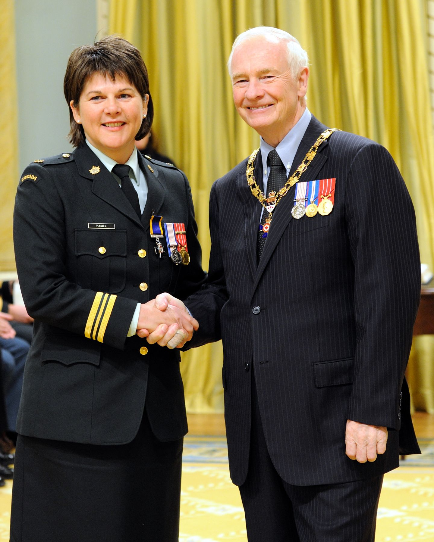 His Excellency presented the Order of Military Merit at the Member level (M.M.M.) to Major Carmen Hamel, M.M.M., C.D., Regional Cadet Instructor School Eastern, Richelain, Quebec.