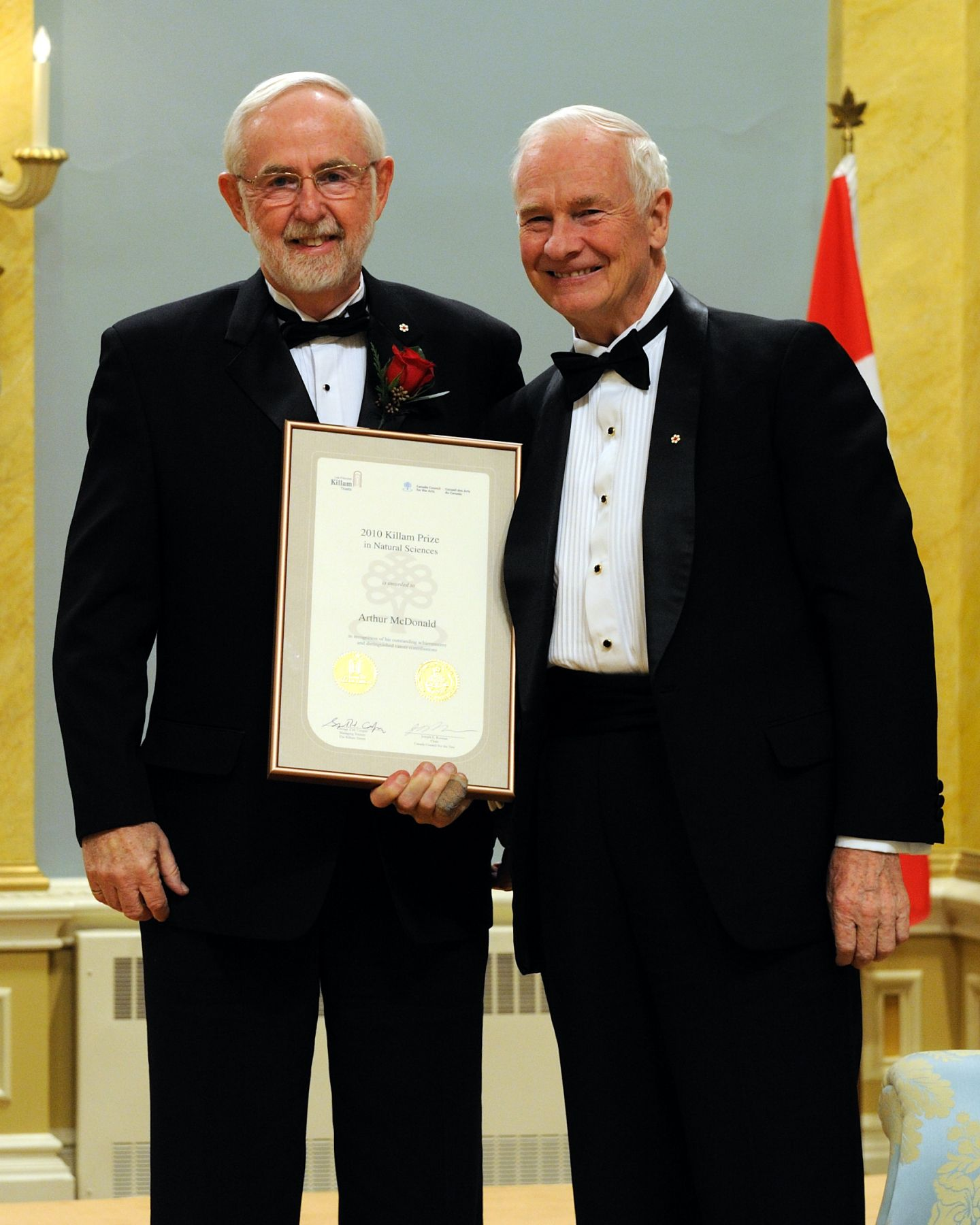 Dr. Arthur McDonald's achievements in the areas of nuclear and particle physics span more than four decades. For the past 20 years, he has been the scientific and operational leader of the Sudbury Neutrino Observatory (SNO) project, a major experiment which has provided revolutionary insight into the properties of neutrinos and energy generation in the sun's core.