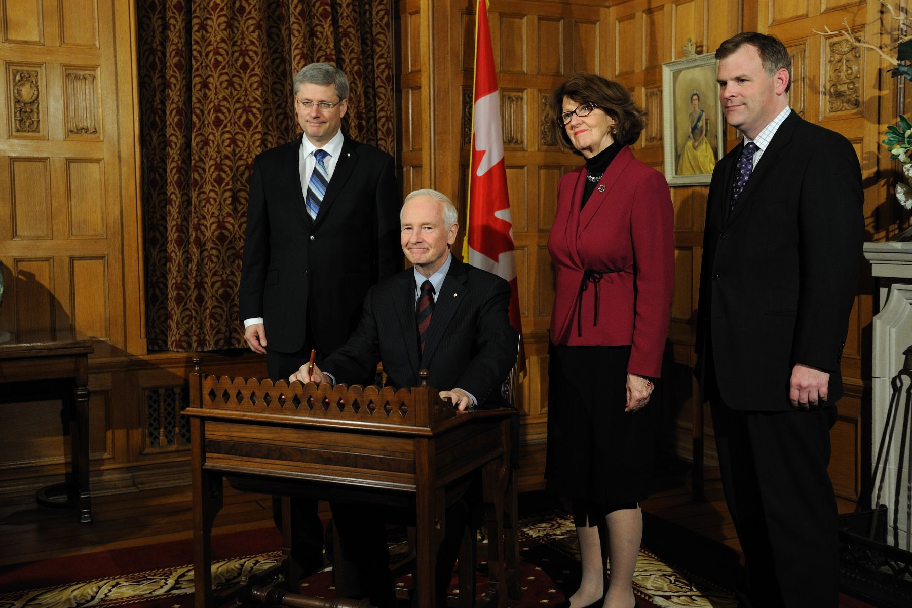 The Governor General signed attestation documents in the Chambers of the Senate Speaker in the presence of the Prime Minister of Canada the Right Honourable Stephen Harper and Leaders of Government in the Senate and the House of Commons the Honourable Marjory Lebreton and the Honourable John Baird.