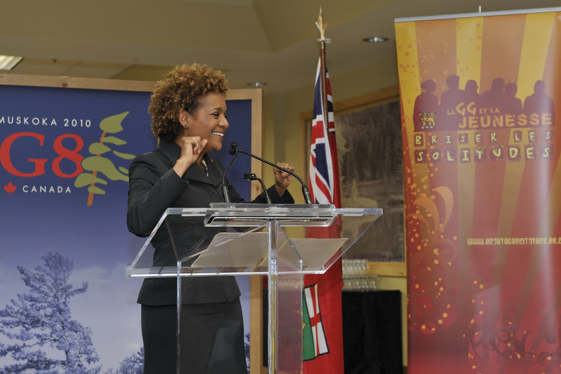The Governor General concluded her day by going to the University of Waterloo campus in Huntsville to meet with youth leaders from G-8 countries participating in My Summit 2010.