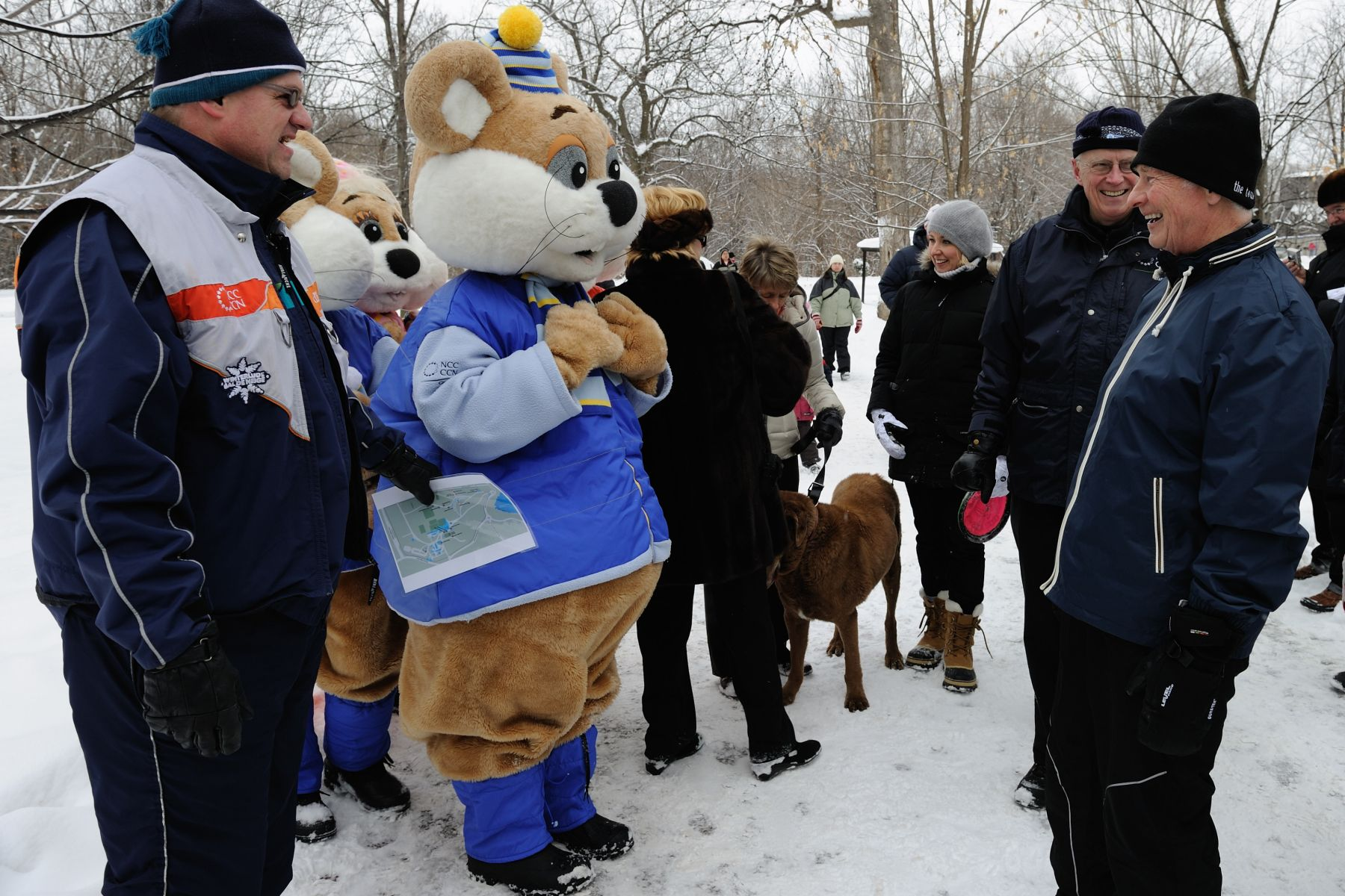 The Governor General met with the Ice Hog family, Winterlude's official mascots, who came to visit Rideau Hall.