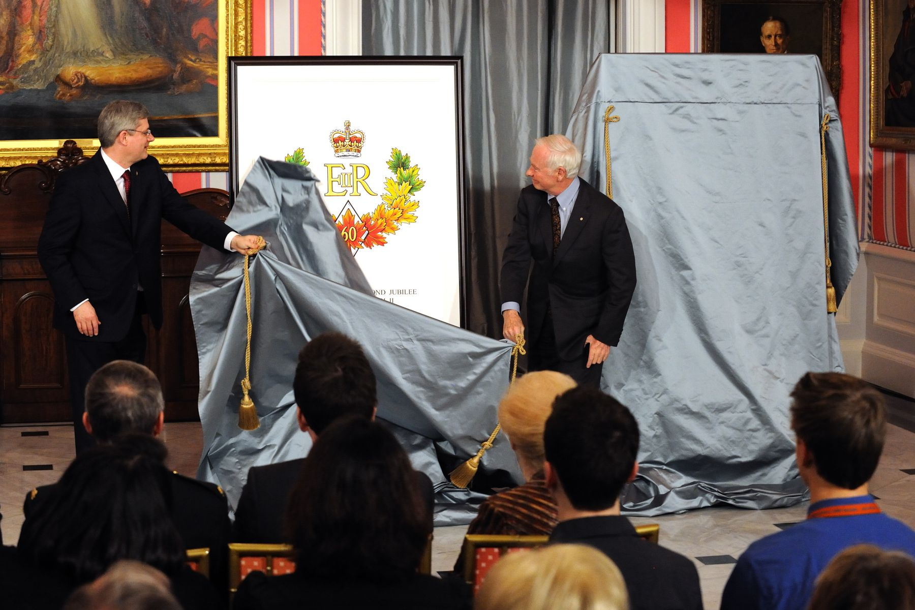 His Excellency was joined by the Right Honourable Stephen Harper, Prime Minister of Canada, who unveiled the official emblem for the Diamond Jubilee year and invited Canadians to prepare to mark this important anniversary in 2012.