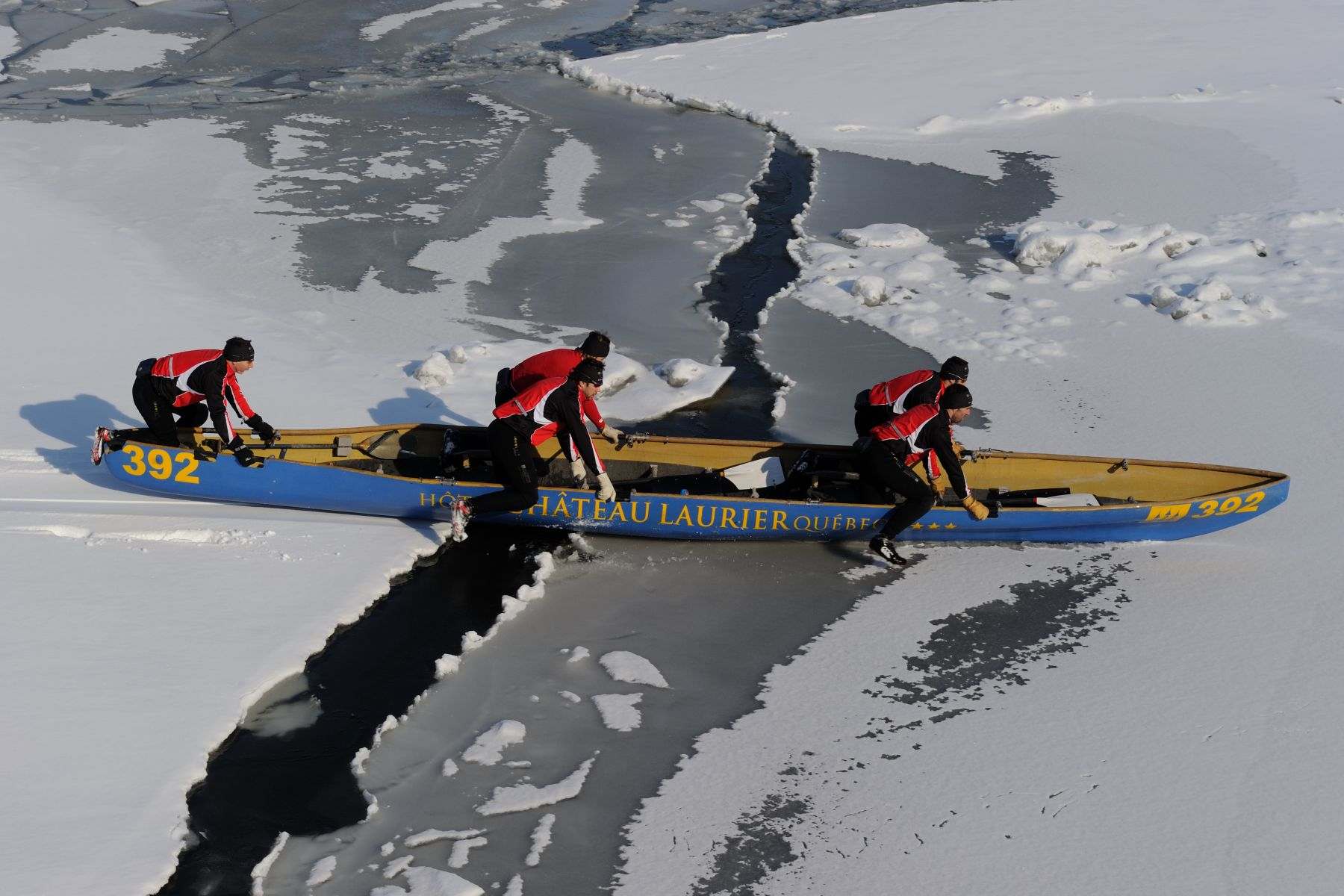 The canoe race on the frozen St. Lawrence River is one of the most popular events at Québec's Winter Carnival.
