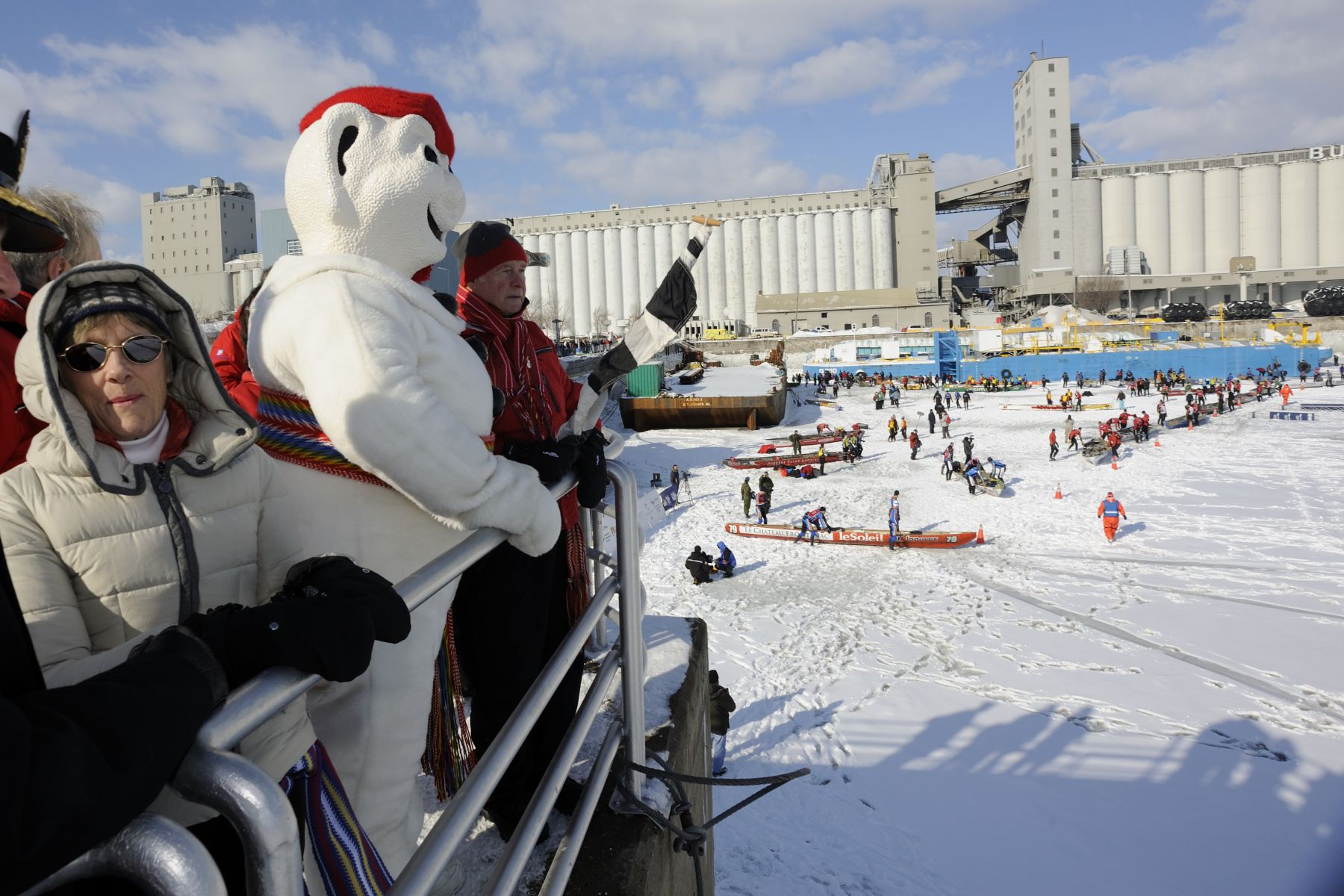 Their Excellencies and Bonhomme cheered on participants from the shore.