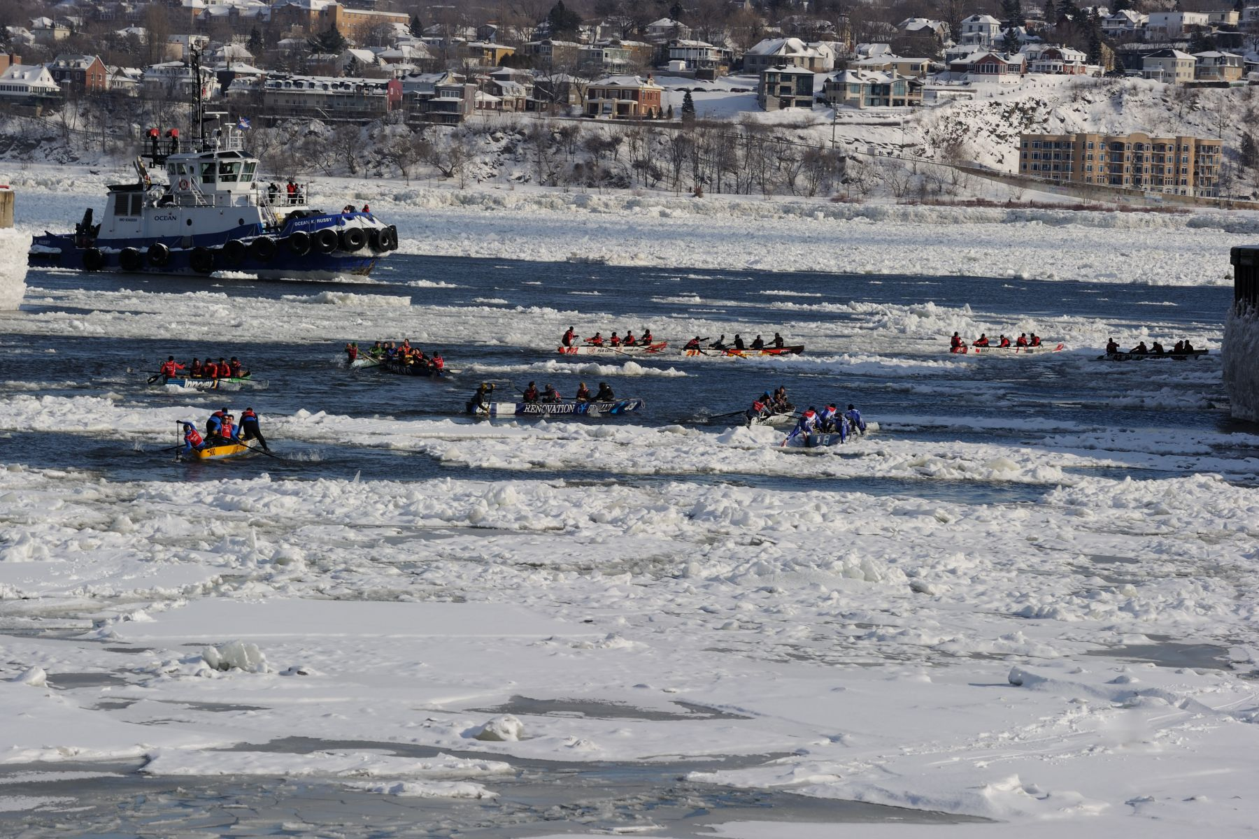 Participants had to cross the frozen waters of the St. Lawrence river twice.