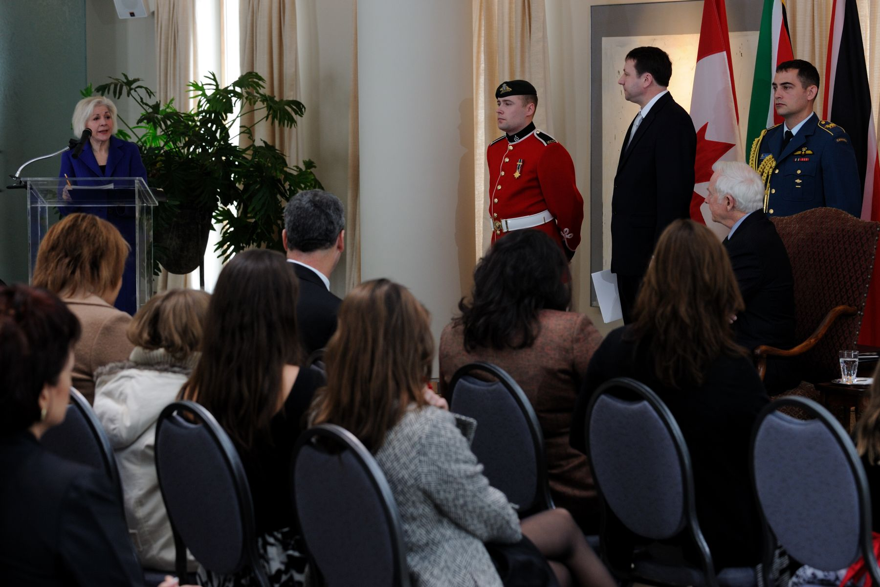 On the morning of February 8, 2011, His Excellency the Right Honourable David Johnston, Governor General of Canada, received the credentials of two High commissioners and four ambassadors. It was the first credentials presentation ceremony for Ms. Margaret Huber, Chief of Protocol of Canada.