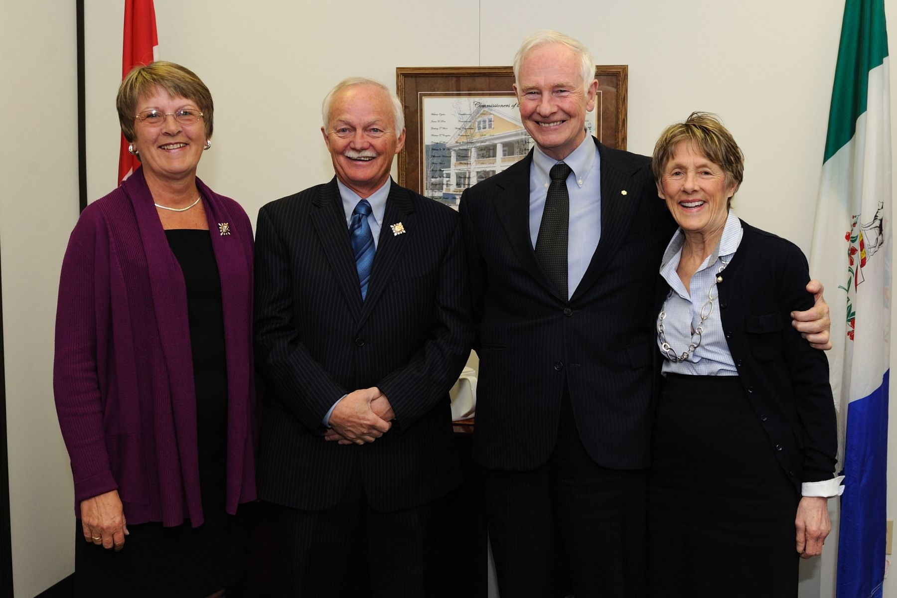 Official photo of Their Excellencies the Right Honourable David Johnston and Mrs. Sharon Johnston (right) along with the Honourable Douglas George Phillips, Commissioner of Yukon,  and his wife Ms. Dale Stokes (left).