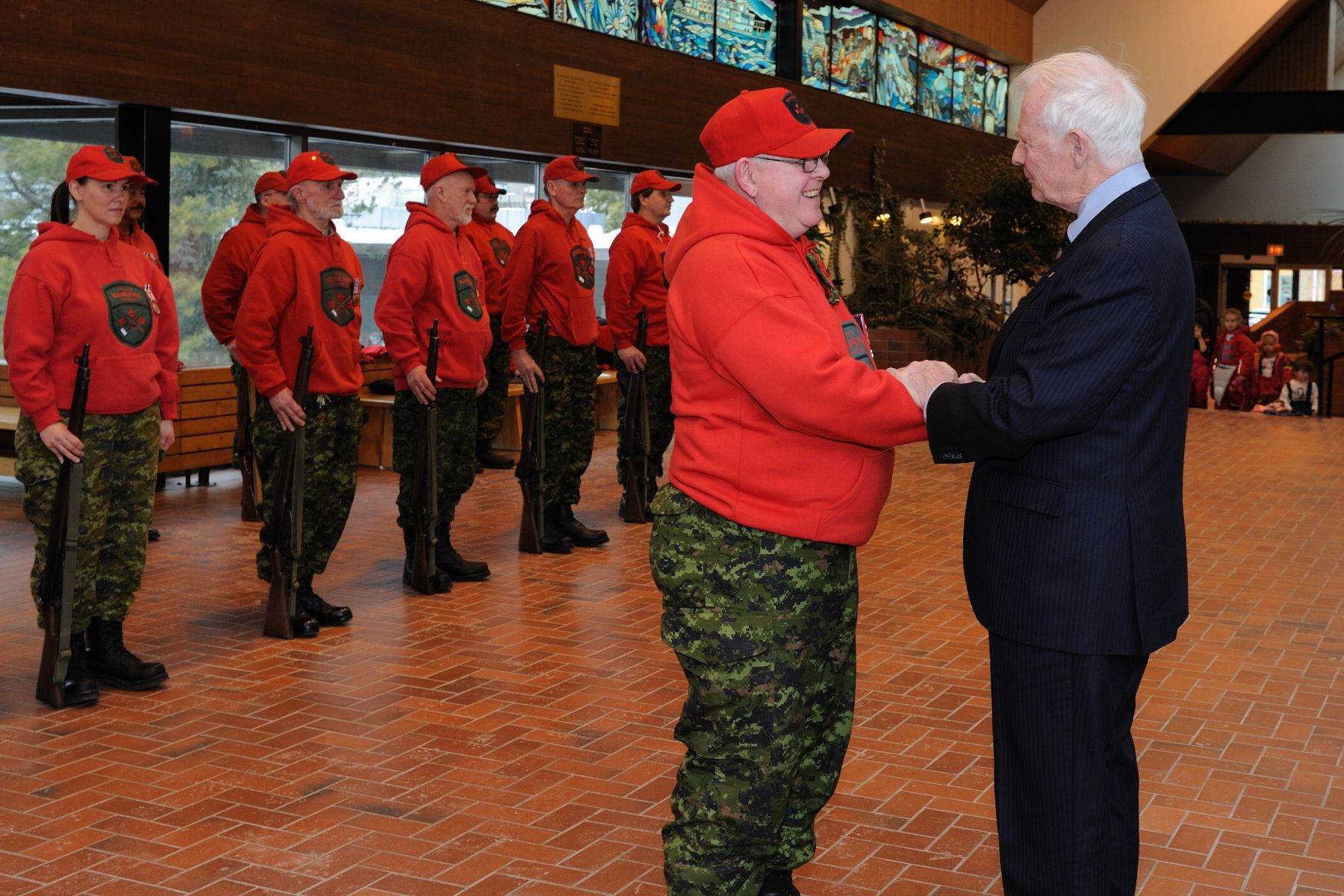 His Excellency took the time to speak to some members of the Canadian Rangers.