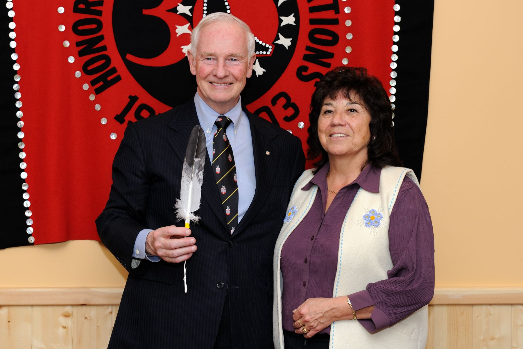Official photo of His Excellency with Grand Chief Ruth Massie of the Council of Yukon First Nations.
