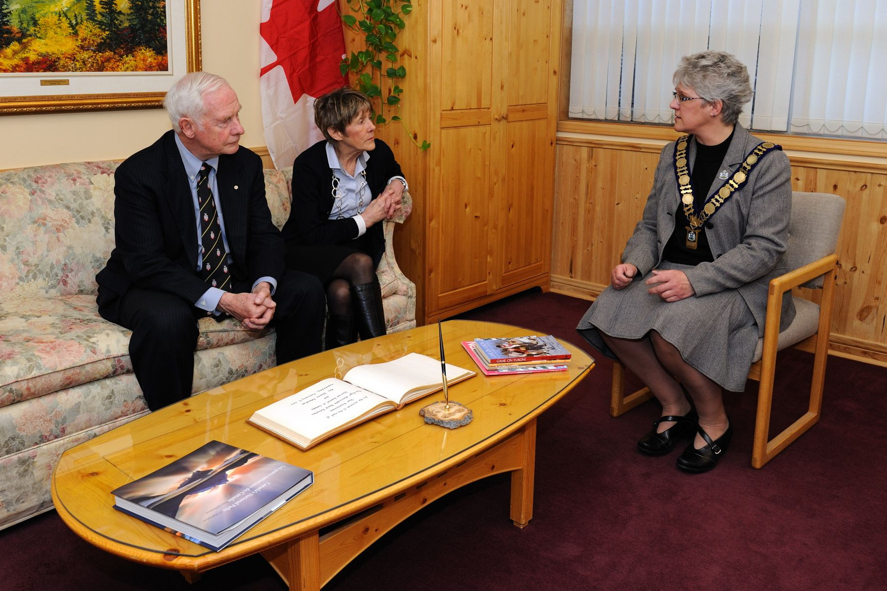 Their Excellencies proceeded to City Hall to meet with Her Worship Bev Buckway, Mayor of Whitehorse.