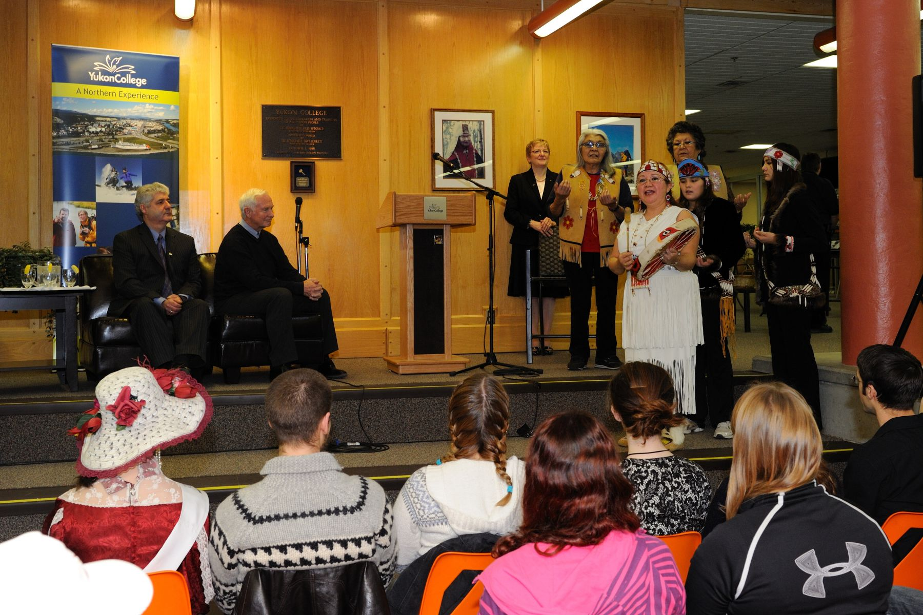 Linda Harvey performed a welcome song in front of His Excellency and the students.