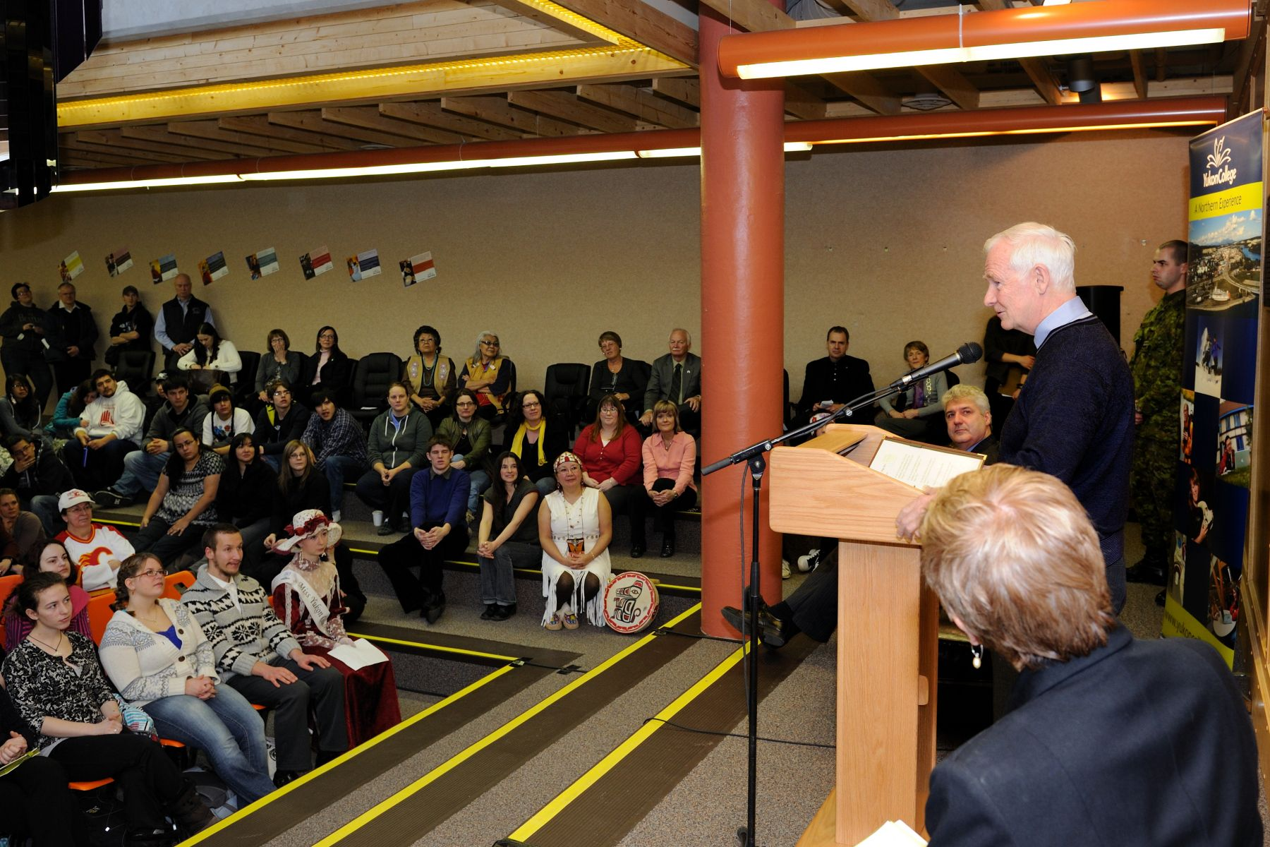 "During his visit, the Governor General addressed the students: ""This is an exciting time to visit Yukon College. I know that some years ago, when this campus moved from the banks of the Yukon River to its present location, Elder Angela Sydney named it Ayamdigut. I believe that this word, which means ""she got up and went"" in Tlingit, also serves as a wonderful description of the energy and dynamism of the students and faculty at Yukon College, and of northerners in general."""