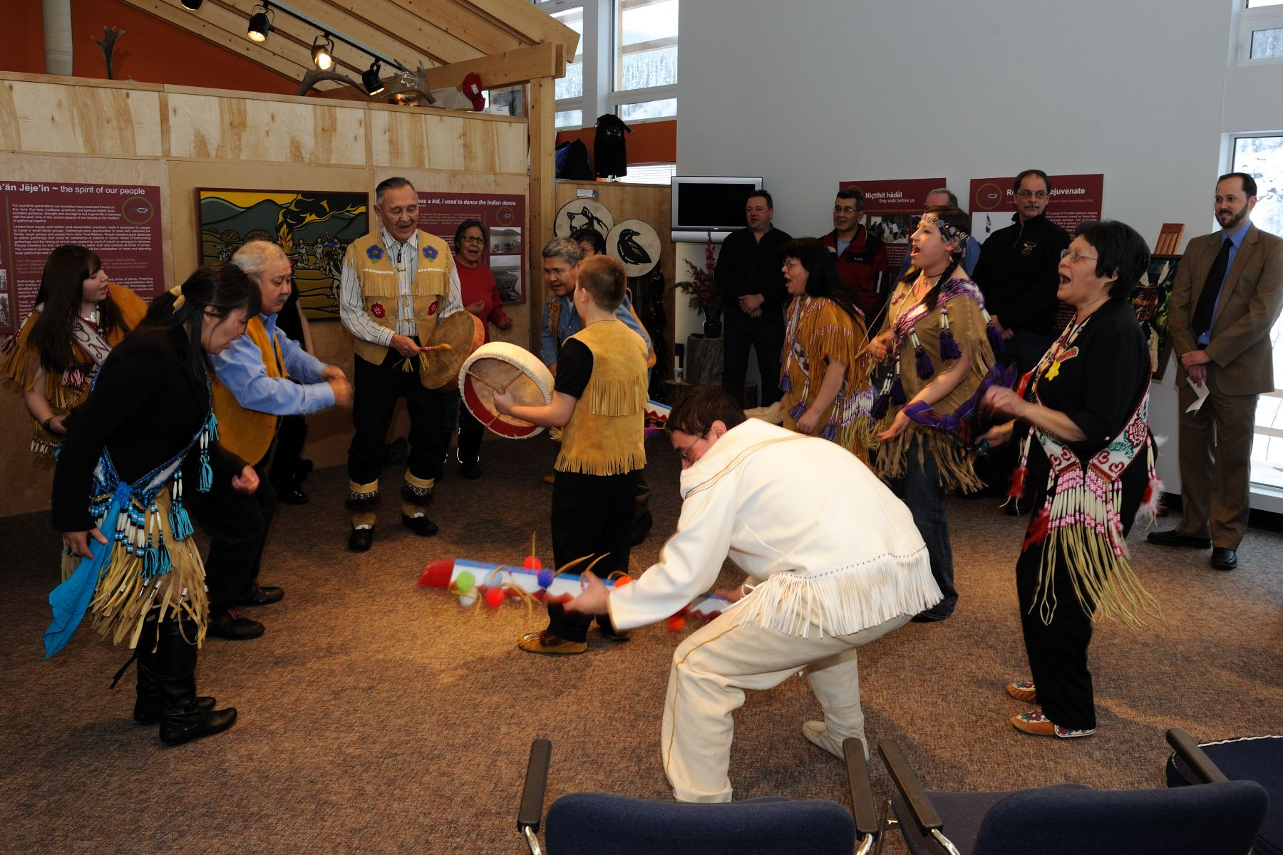 In honour of His Excellency's visit, a drumming dance was performed.
