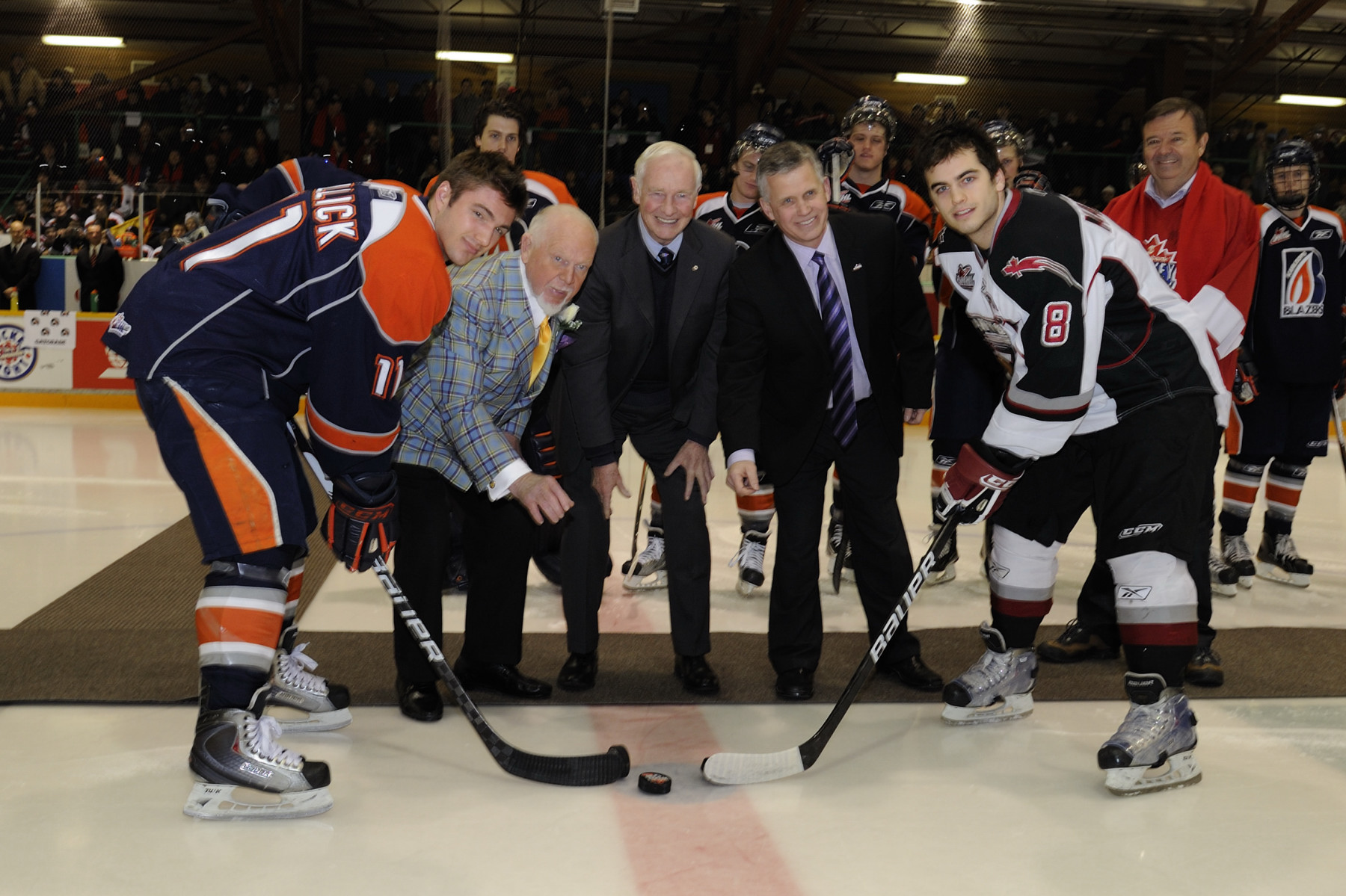 At the official ceremony for Hockey Day in Canada, the Governor General along with Don Cherry (left) and Ron Robison (right), Commissioner of the Western Hockey League, did the official puck-drop at the game between the Vancouver Giants and the Kamloops Blazers.