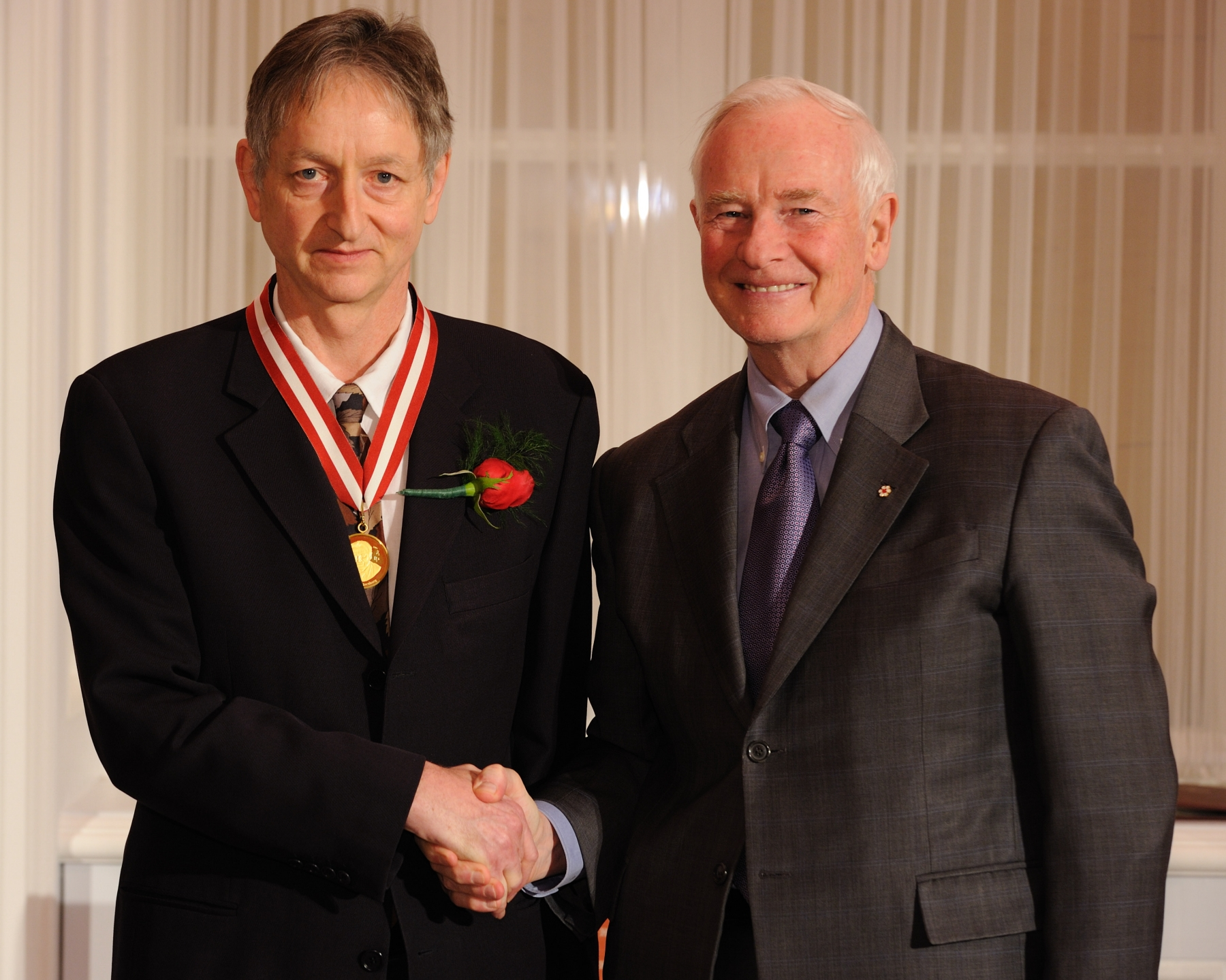 Geoffrey Hinton is the winner of the Gerhard Herzberg Canada Gold Medal for Science and Engineering. This award, NSERC's highest honour, recognizes research contributions characterized by both excellence and influence—two qualities that defined Dr. Herzberg's illustrious career. It is awarded annually to an individual who has demonstrated sustained excellence and influence in research for a body of work conducted in Canada that has substantially advanced the natural sciences or engineering fields.