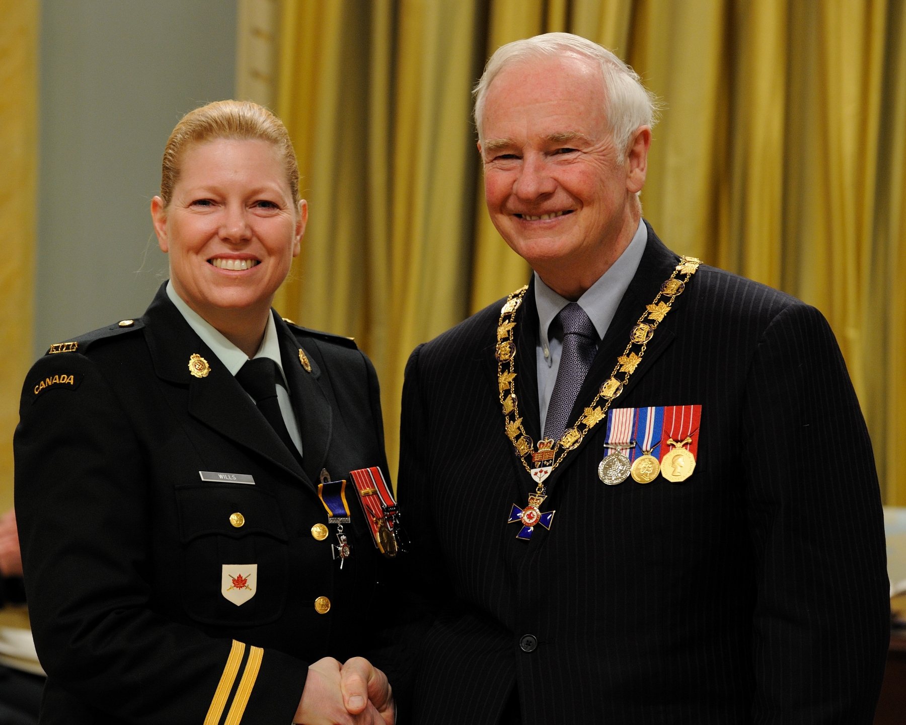His Excellency presented the Order of Military Merit at the Member level (M.M.M.) to Captain Shannon Wills, M.M.M., C.D., 4th Canadian Ranger Patrol Group, Victoria, British Columbia.